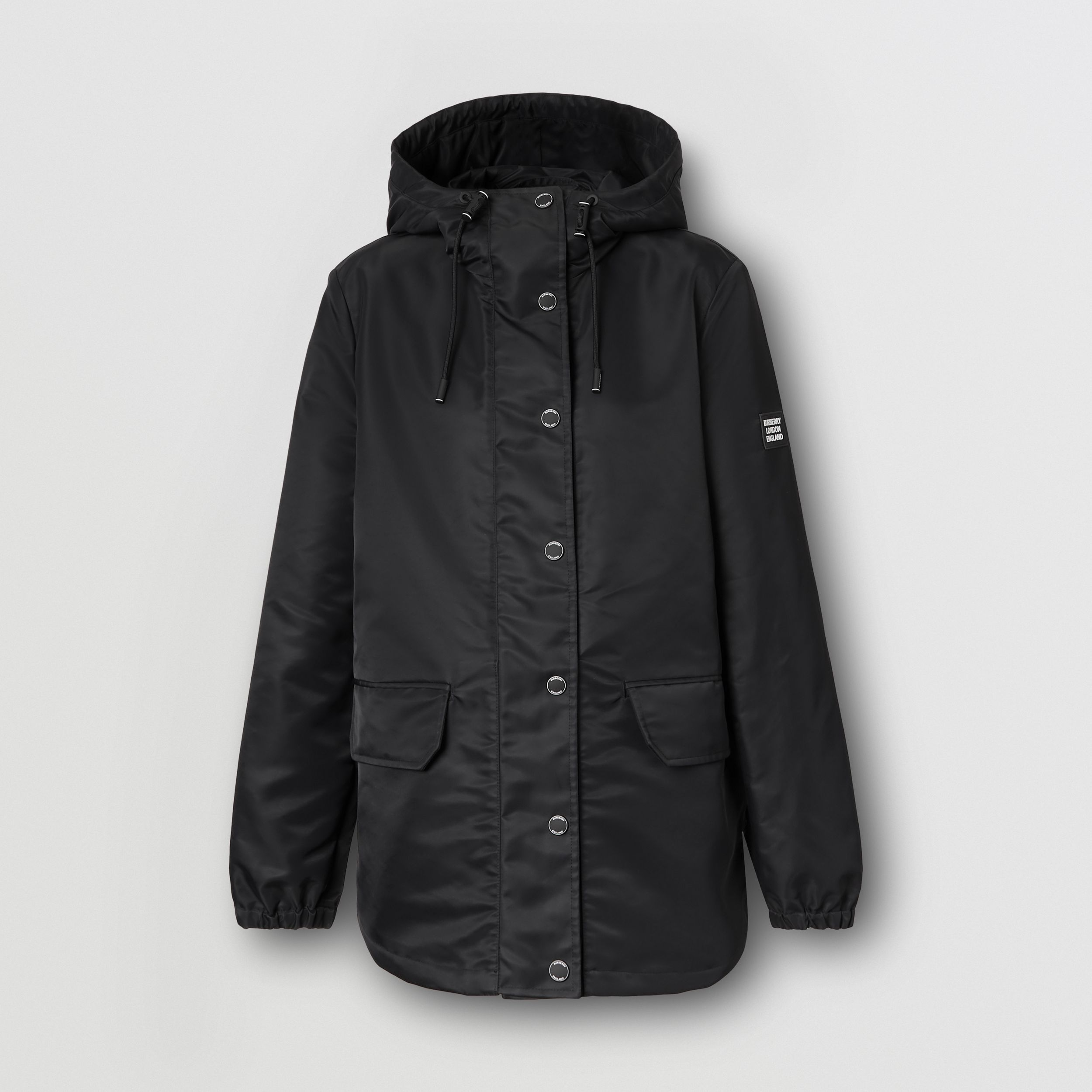 Horseferry Print Lightweight Hooded Parka in Black - Women | Burberry - 4