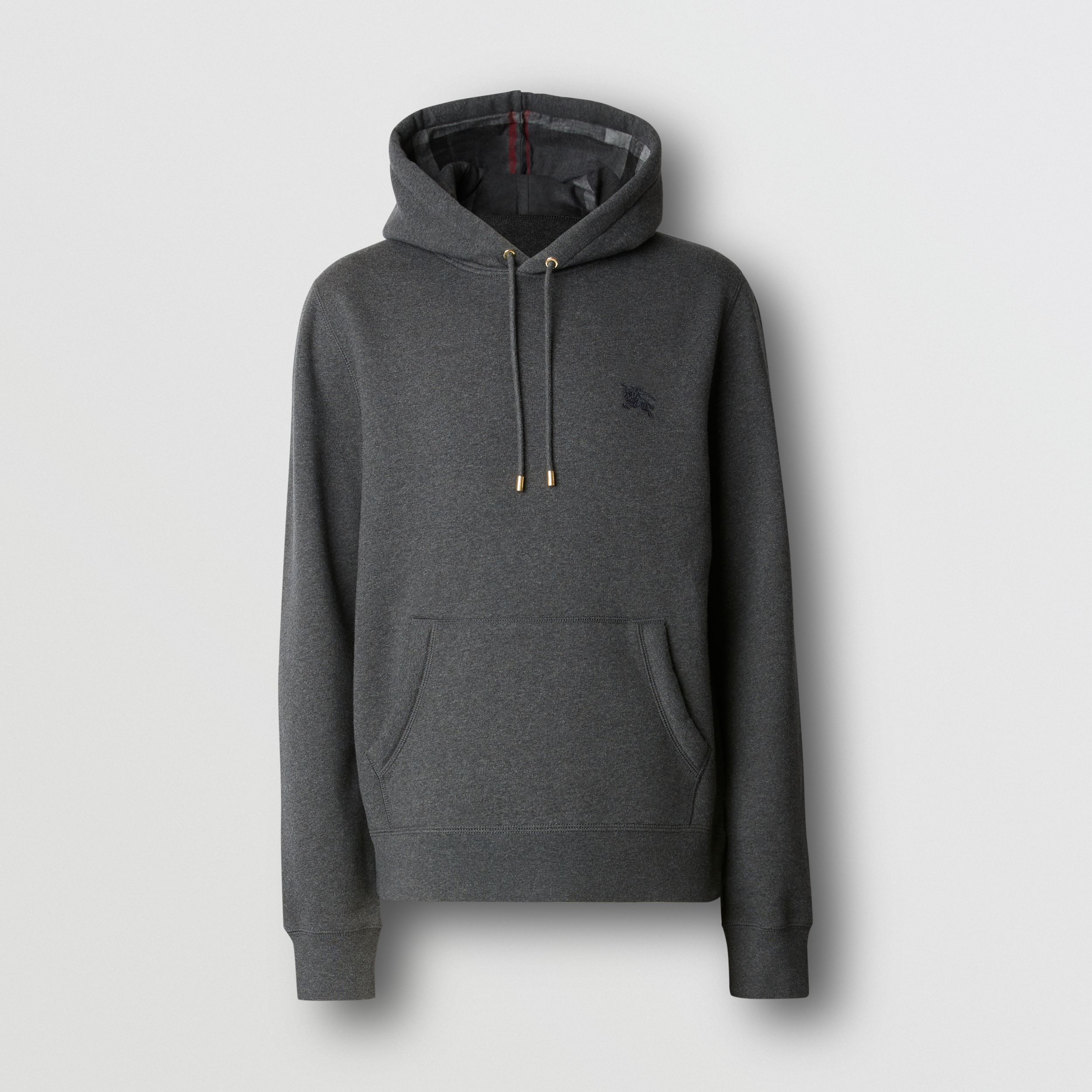 Embroidered EKD Cotton Blend Hoodie in Charcoal Melange - Men | Burberry - 1