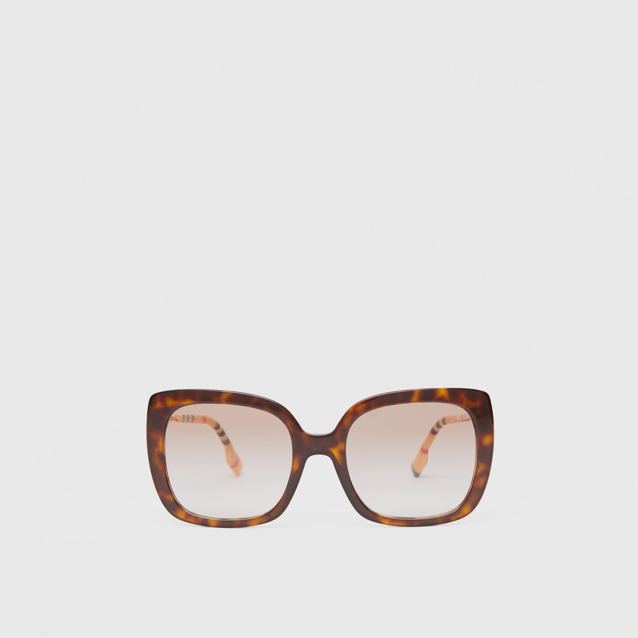Oversized Square Frame Sunglasses in Tortoiseshell - Women | Burberry - 1