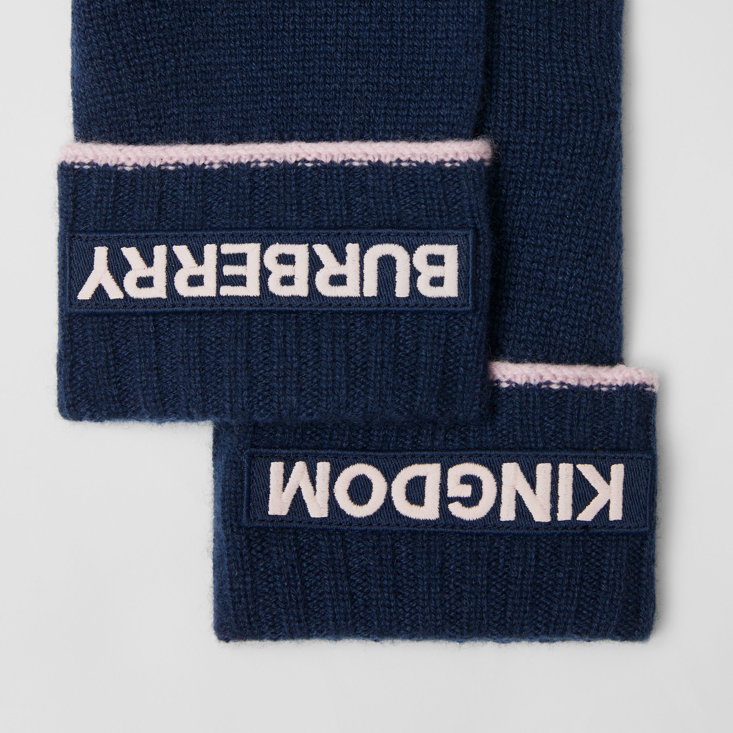 Kingdom and Logo Appliqué Cashmere Gloves in Navy | Burberry - 2