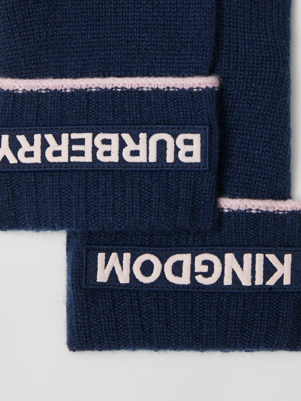 Kingdom and Logo Appliqué Cashmere Gloves in Navy