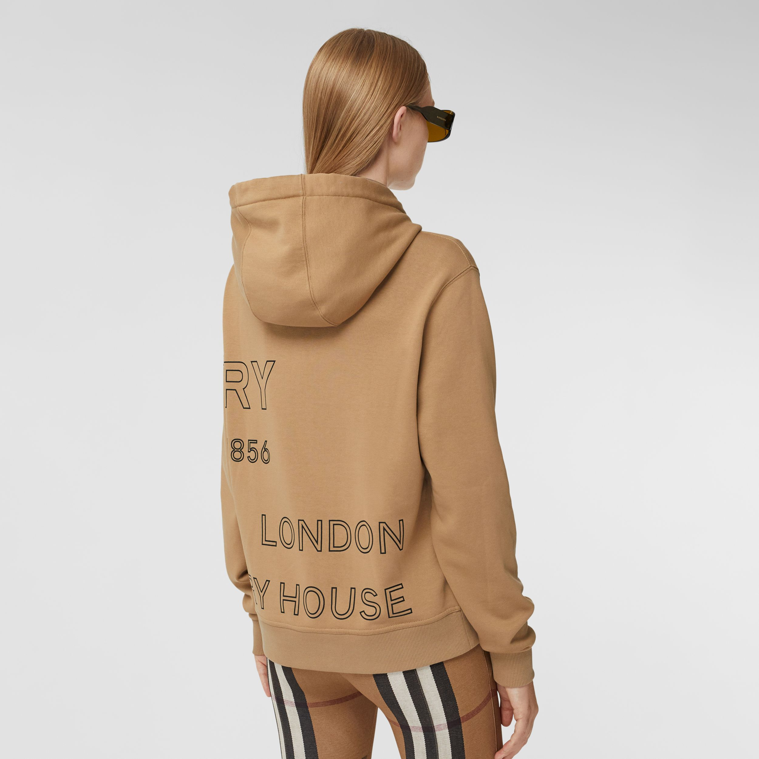 Horseferry Print Cotton Oversized Hoodie in Archive Beige - Women | Burberry - 3