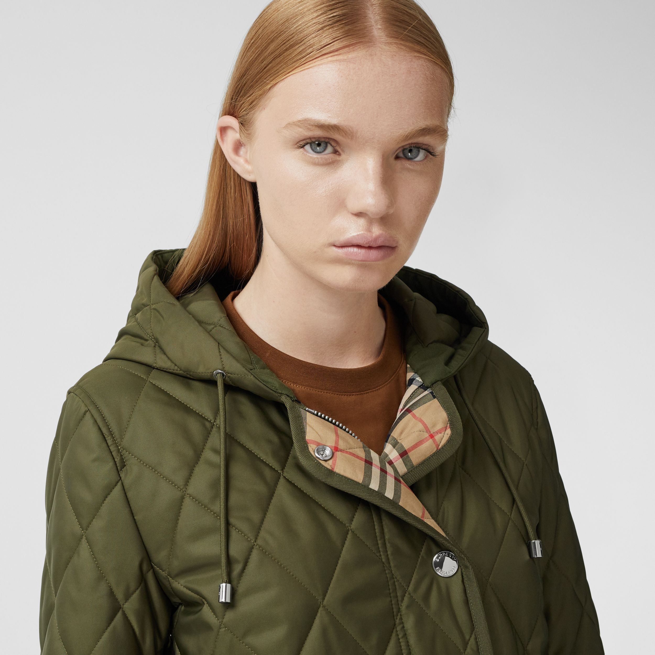 Diamond Quilted Thermoregulated Hooded Coat in Military Green - Women | Burberry - 2
