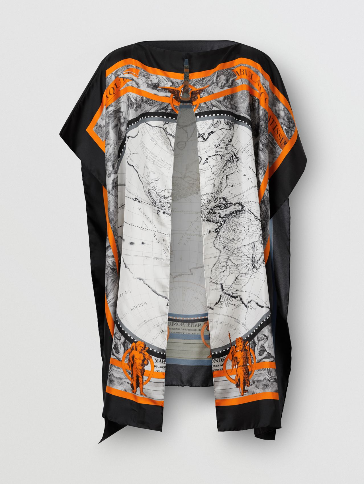 Map Print Silk Twill Cape
