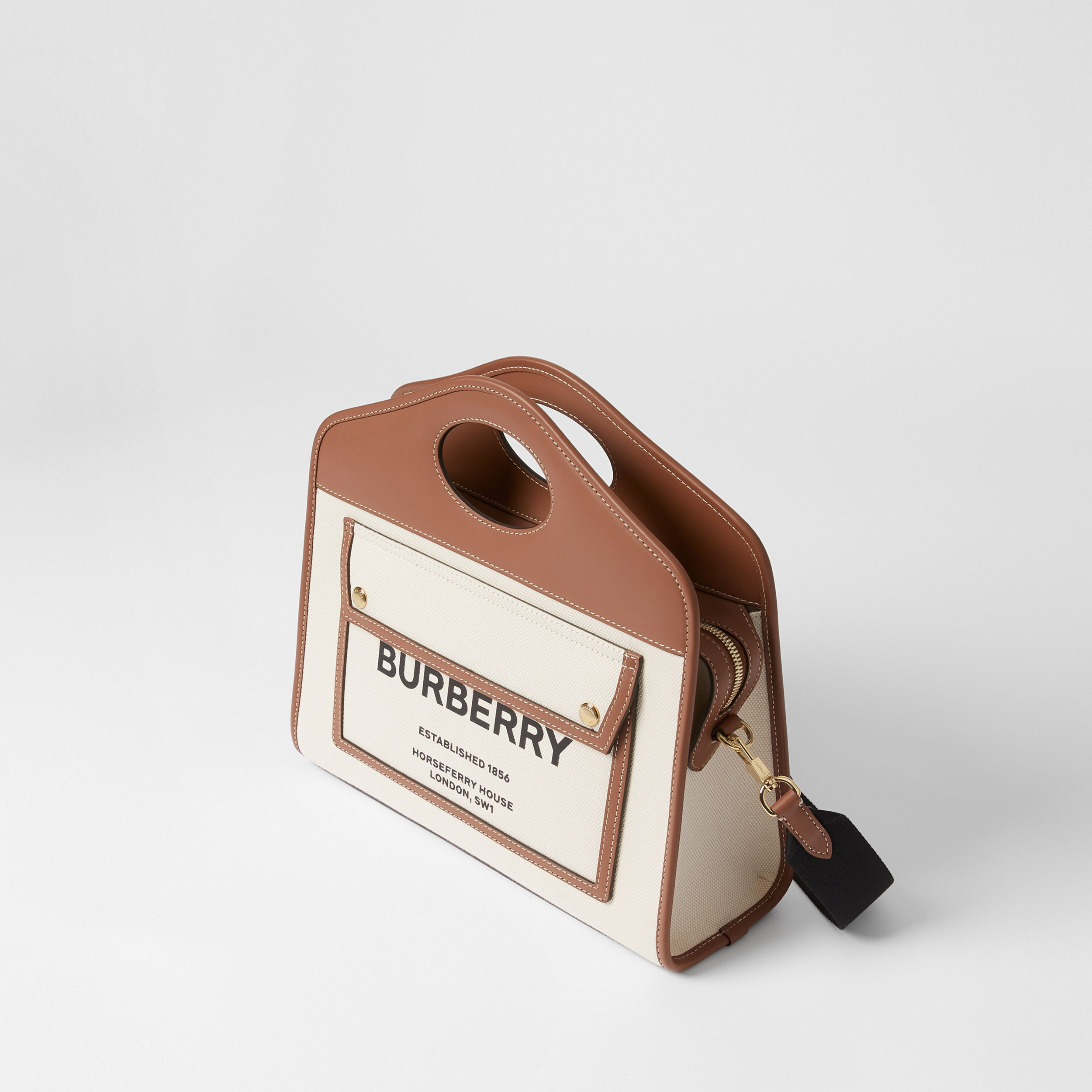 Small Two-tone Canvas and Leather Pocket Tote in Natural/malt Brown - Women | Burberry - 4