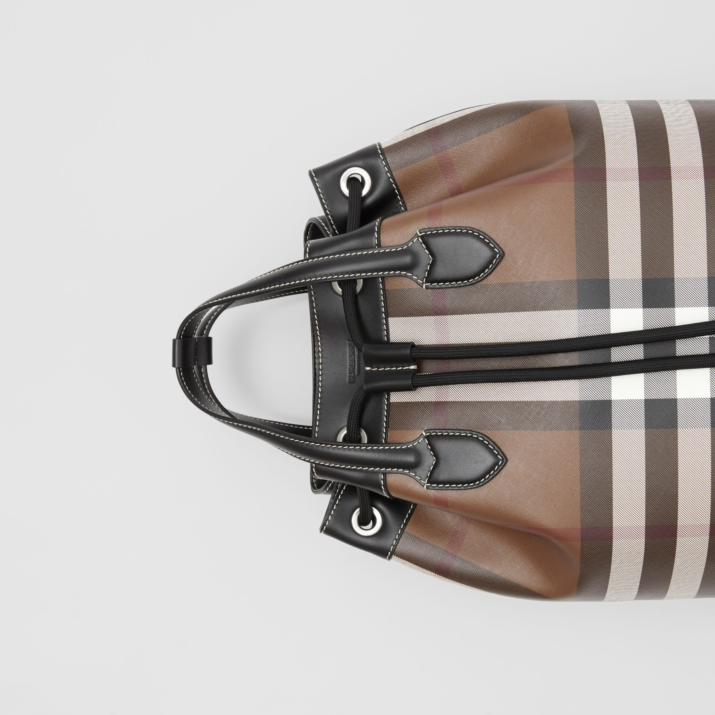 Check Print Leather Drawcord Backpack in Dark Birch Brown | Burberry - 2