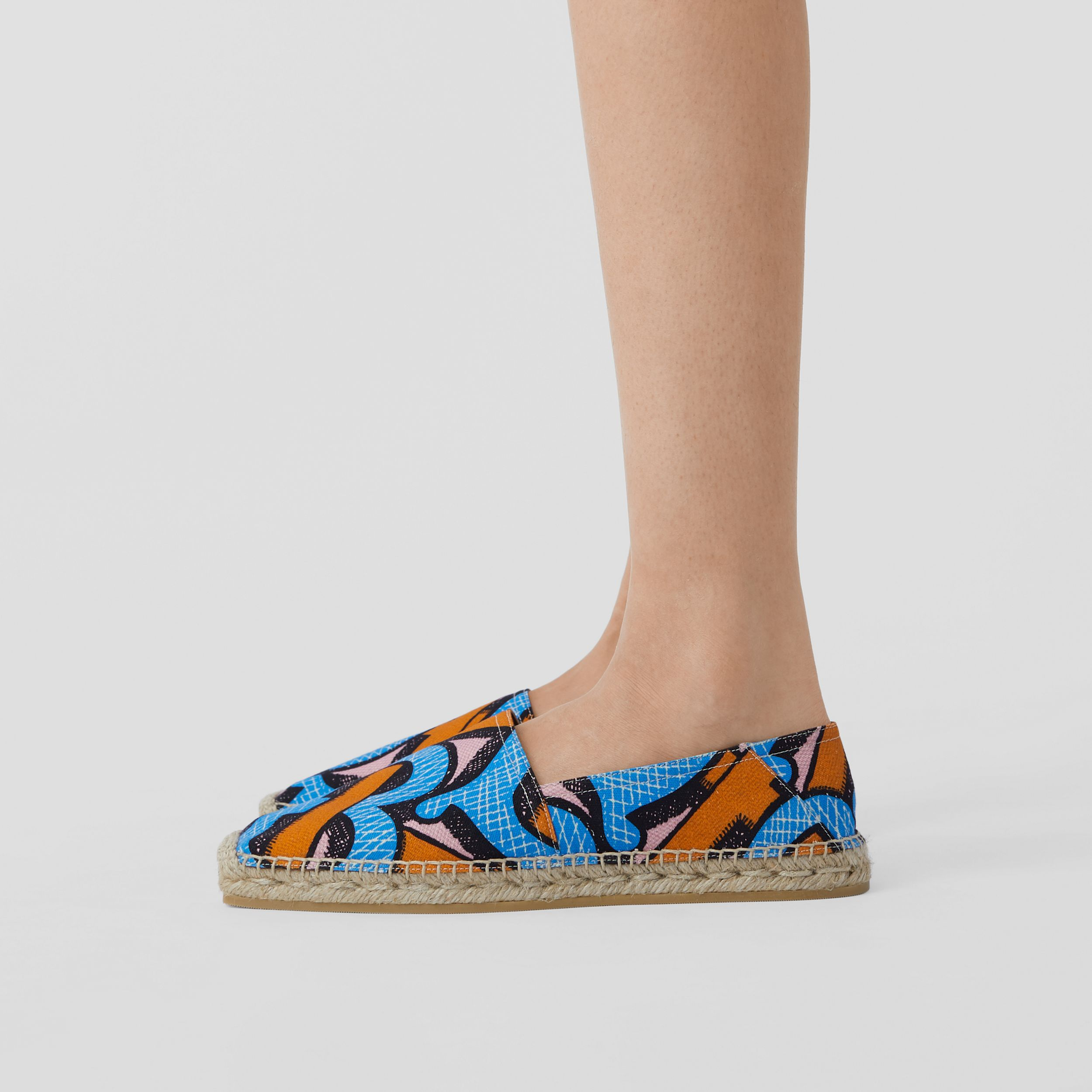 Monogram Print Cotton Canvas Espadrilles in Bright Cobalt - Women | Burberry - 3