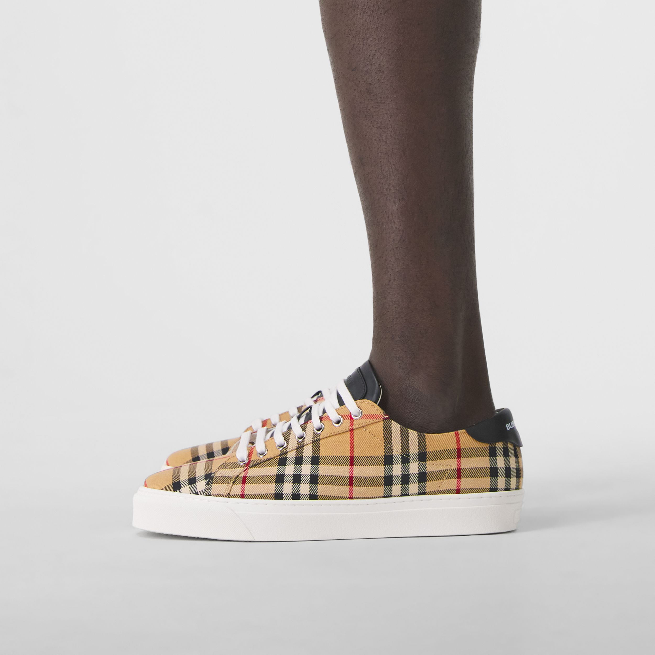 Bio-based Sole Vintage Check and Leather Sneakers in Archive Beige - Men | Burberry - 3