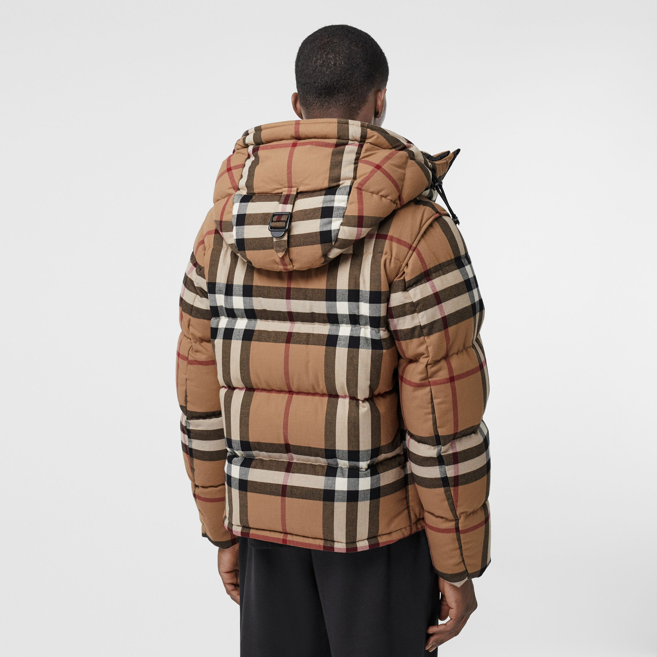 Detachable Sleeve Check Cotton Hooded Puffer Jacket in Birch Brown - Men | Burberry - 3