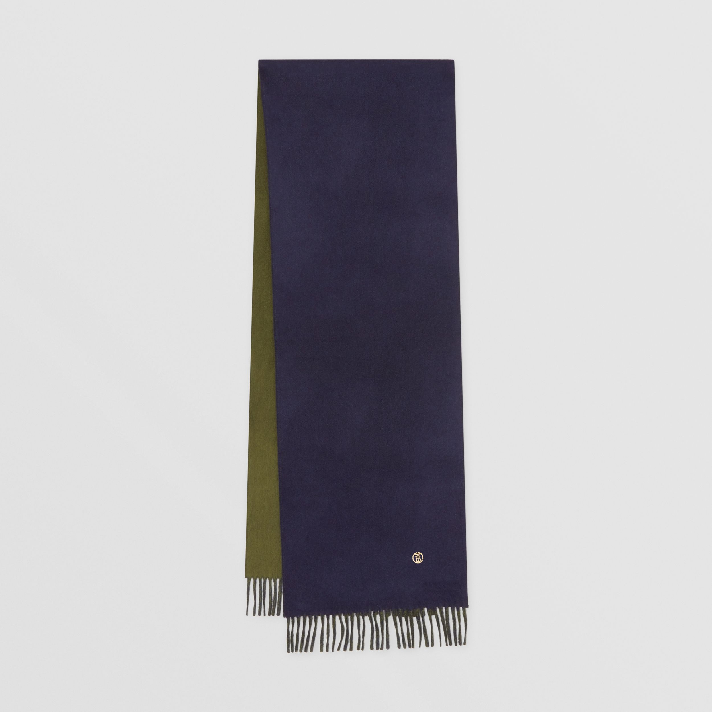 Reversible Monogram Motif Cashmere Scarf in Navy | Burberry - 1