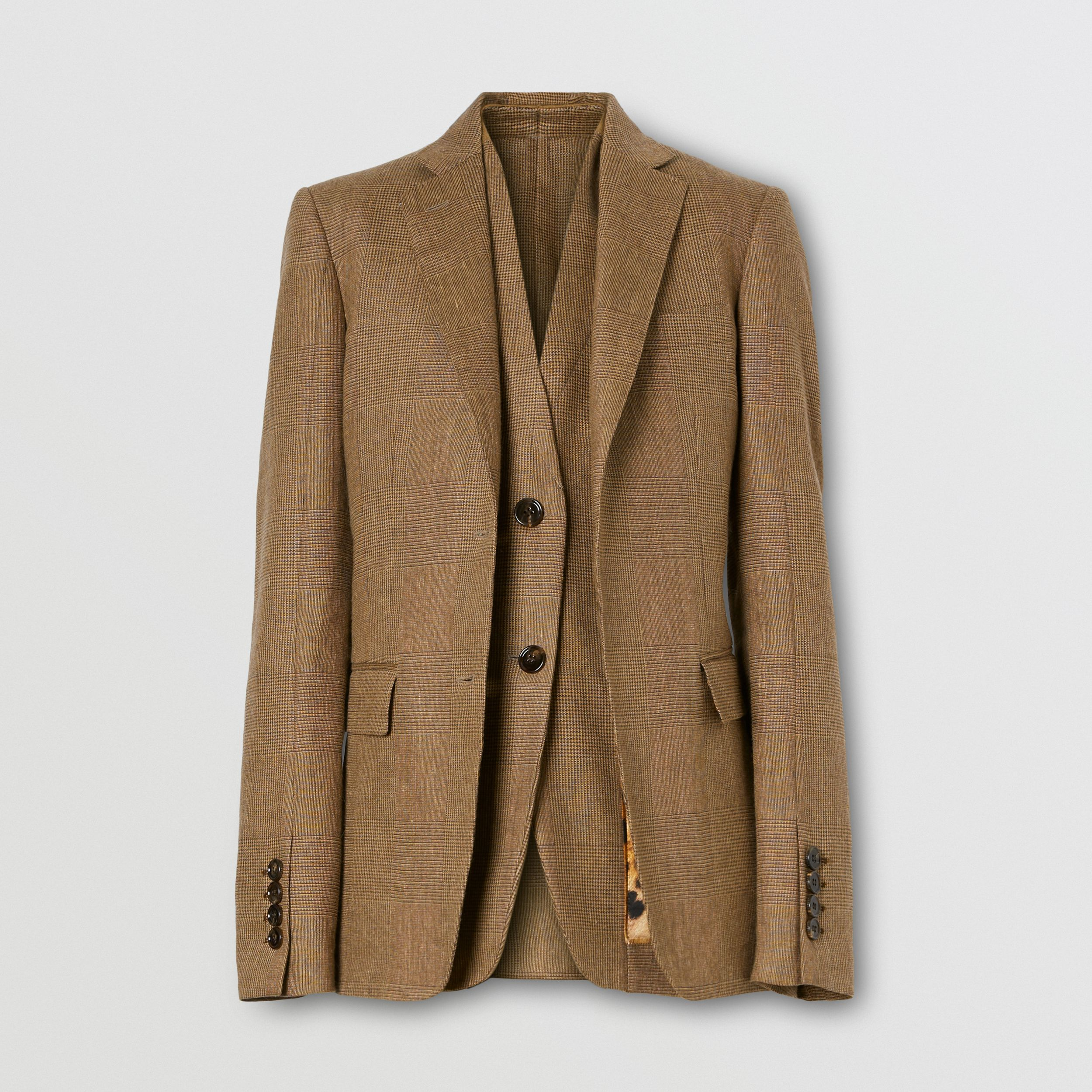 Linen Wool Cashmere Reconstructed Tailored Jacket in Brown - Women | Burberry - 4