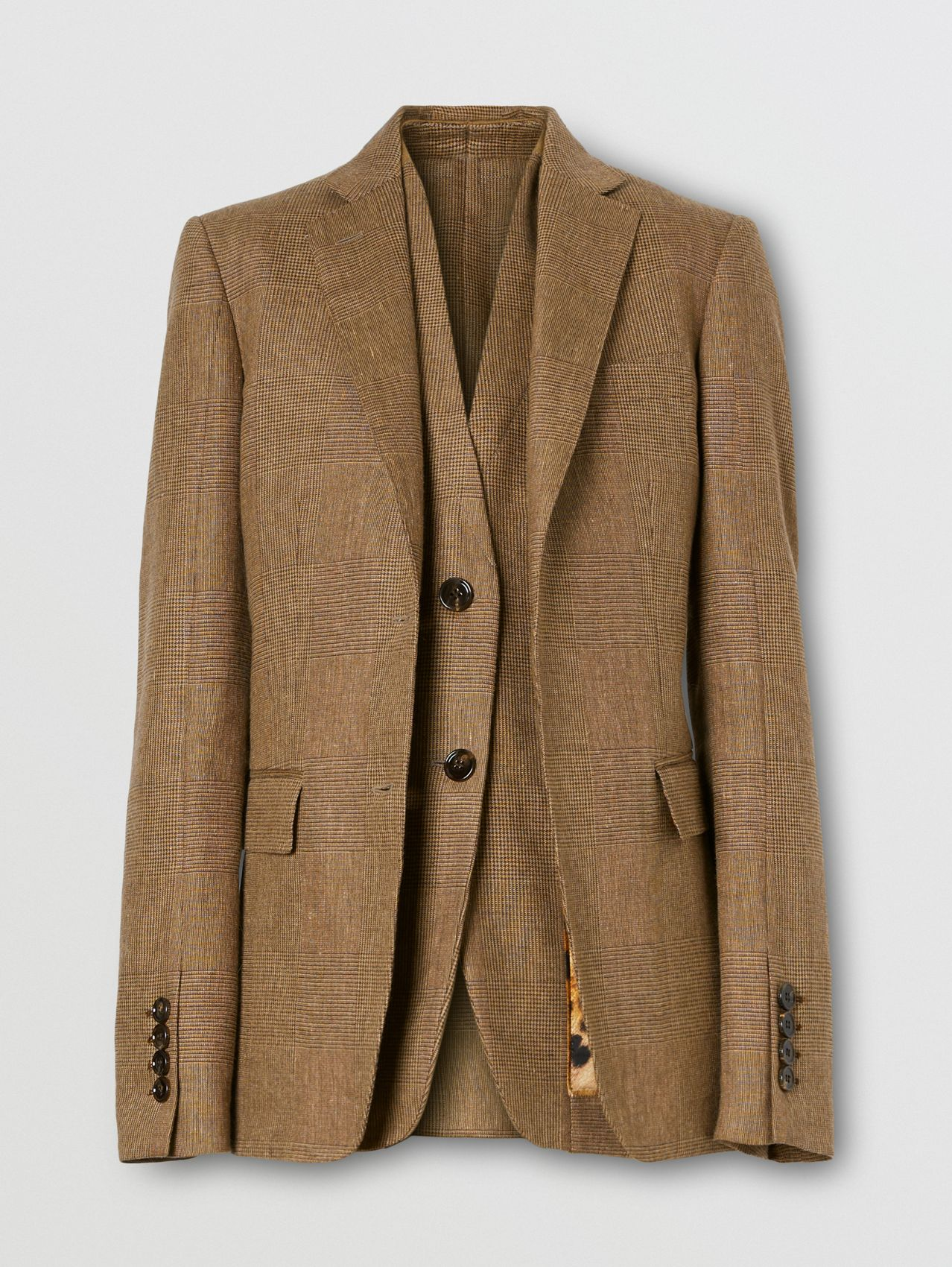 Linen Wool Cashmere Reconstructed Tailored Jacket in Brown