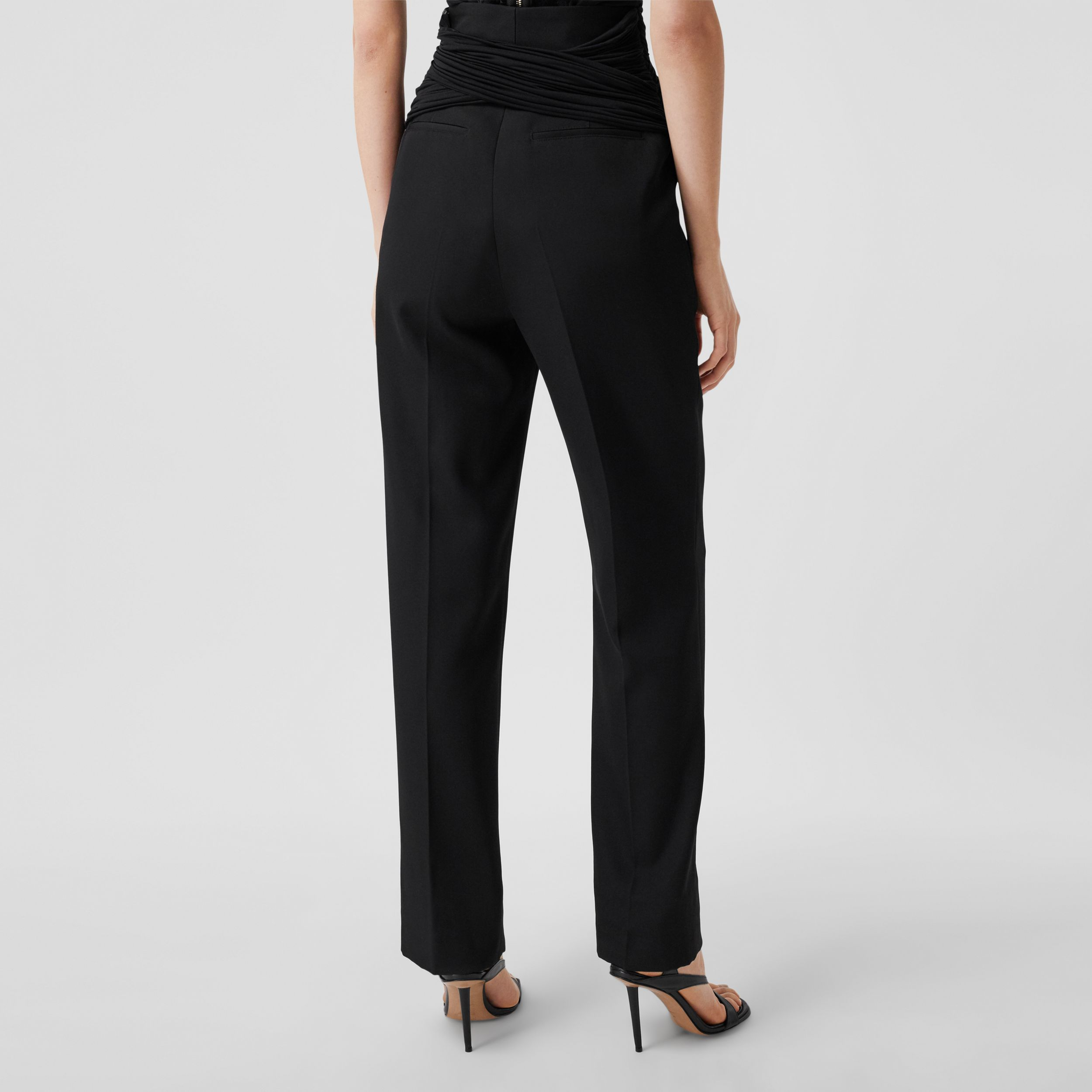 Jersey Sash Detail Wool Tailored Trousers in Black - Women | Burberry - 3