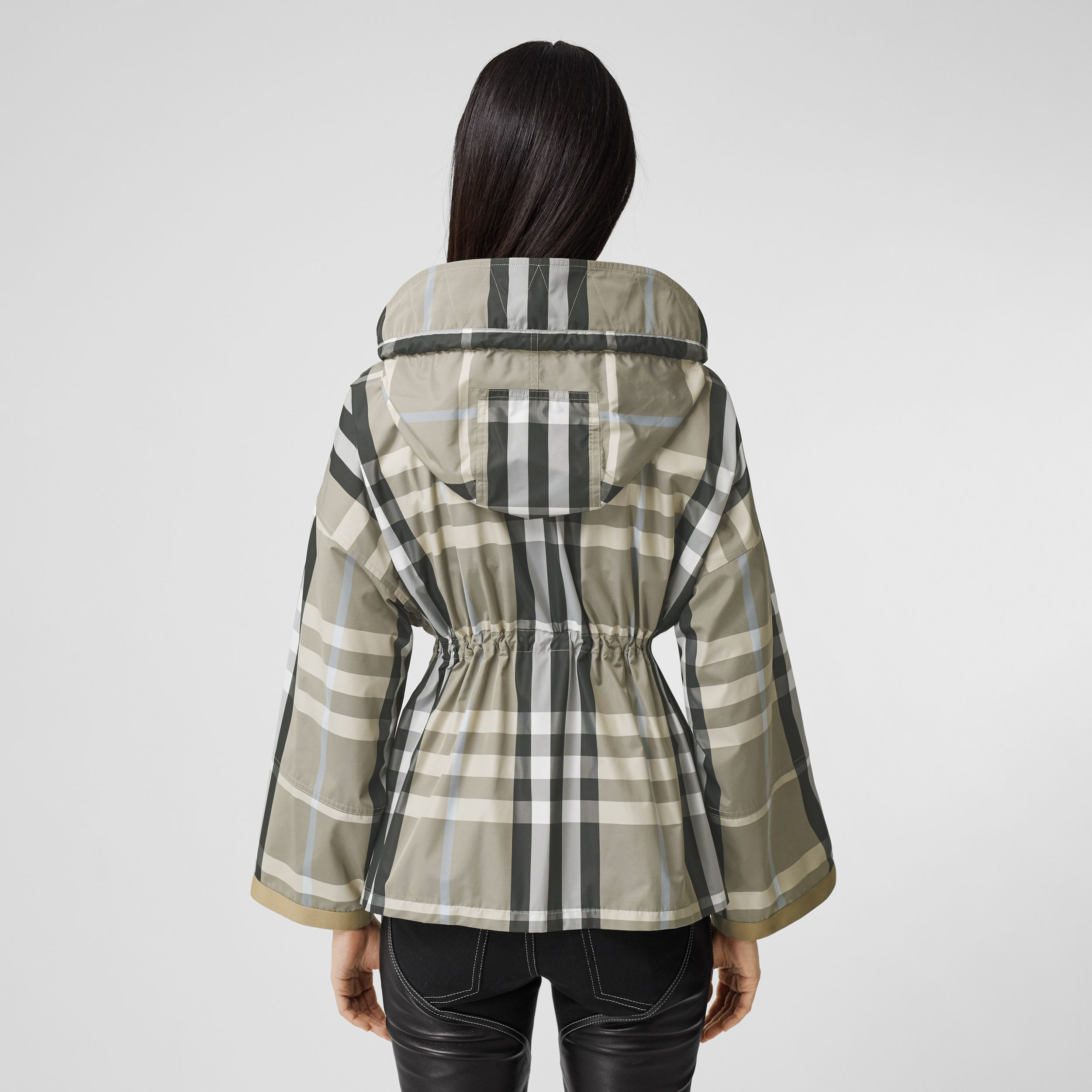 Check Lightweight Hooded Jacket in Dusty Sand - Women | Burberry - 3