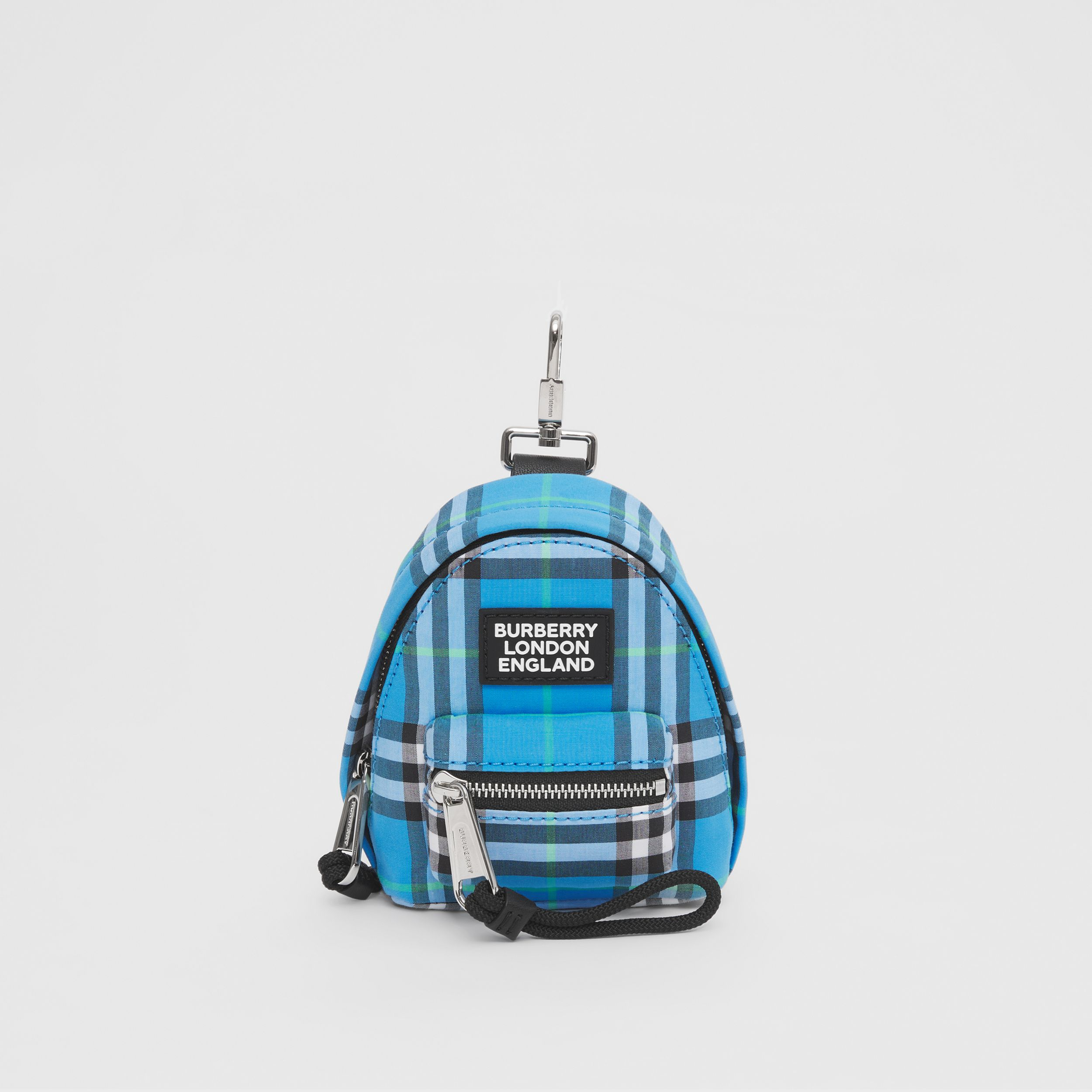 Vintage Check Cotton Backpack Charm in Azure Blue - Men | Burberry United Kingdom - 1