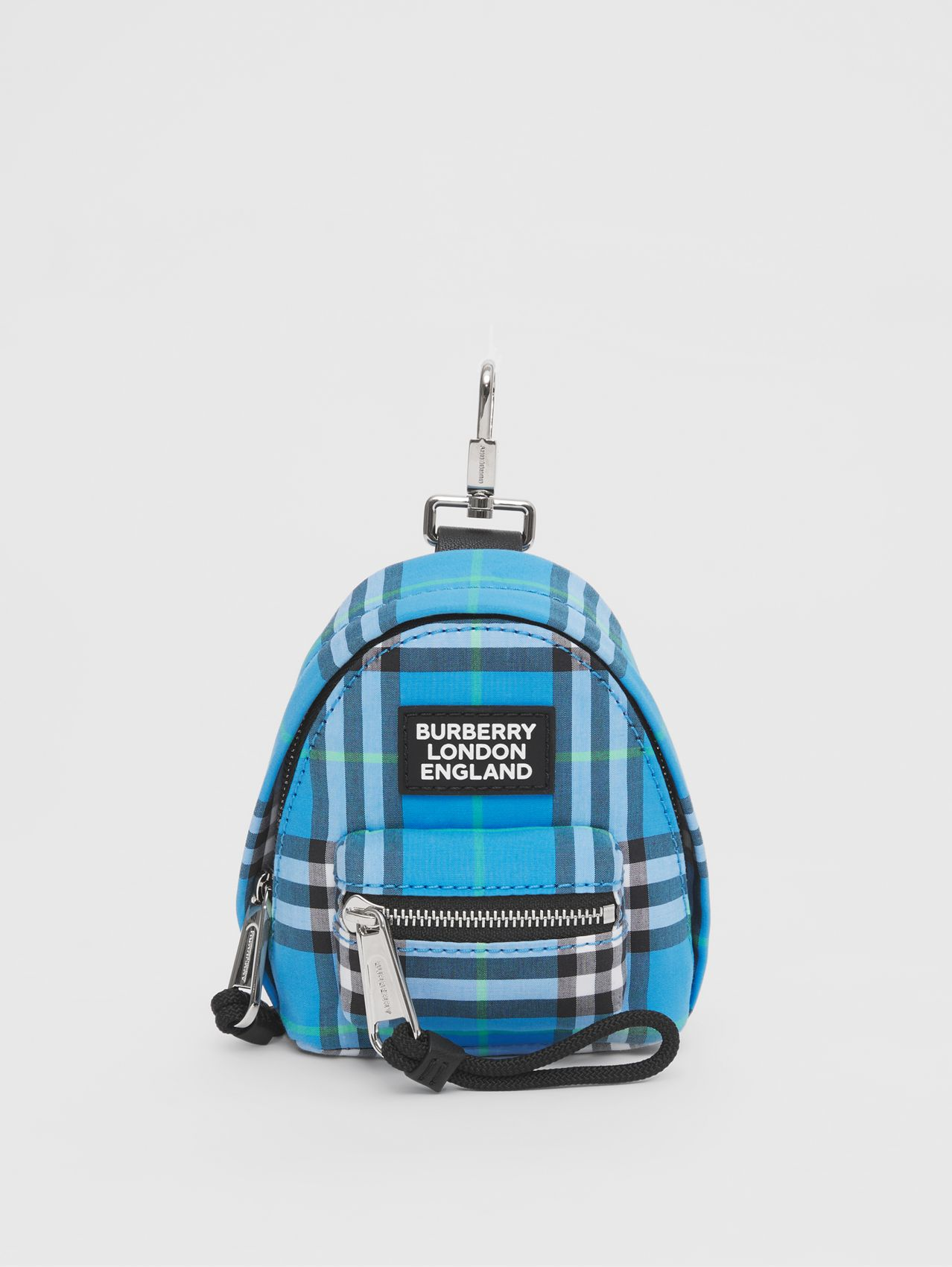 Vintage Check Cotton Backpack Charm in Azure Blue
