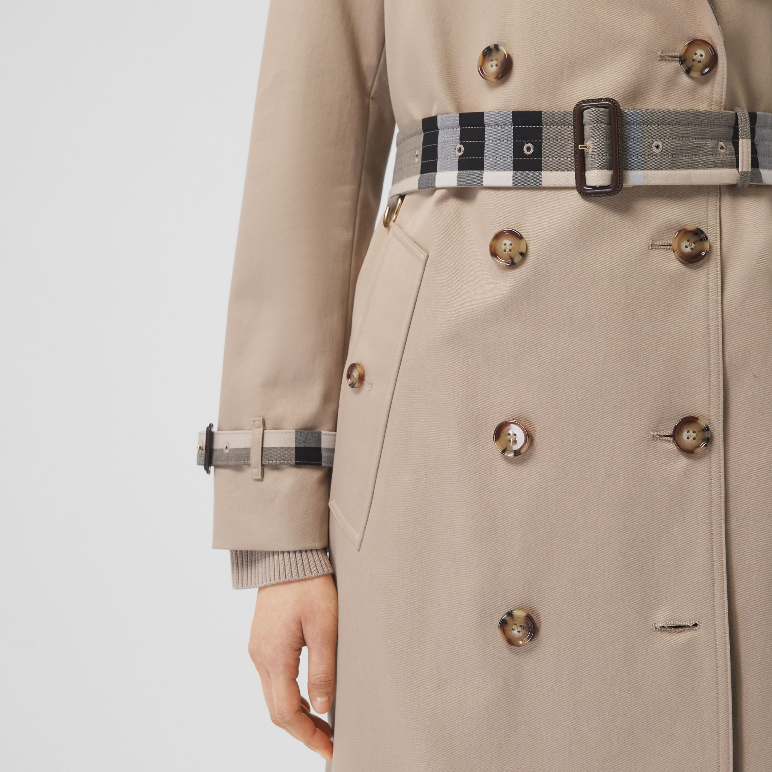 Check Panel Cotton Gabardine Trench Coat in Soft Fawn - Women | Burberry - 4