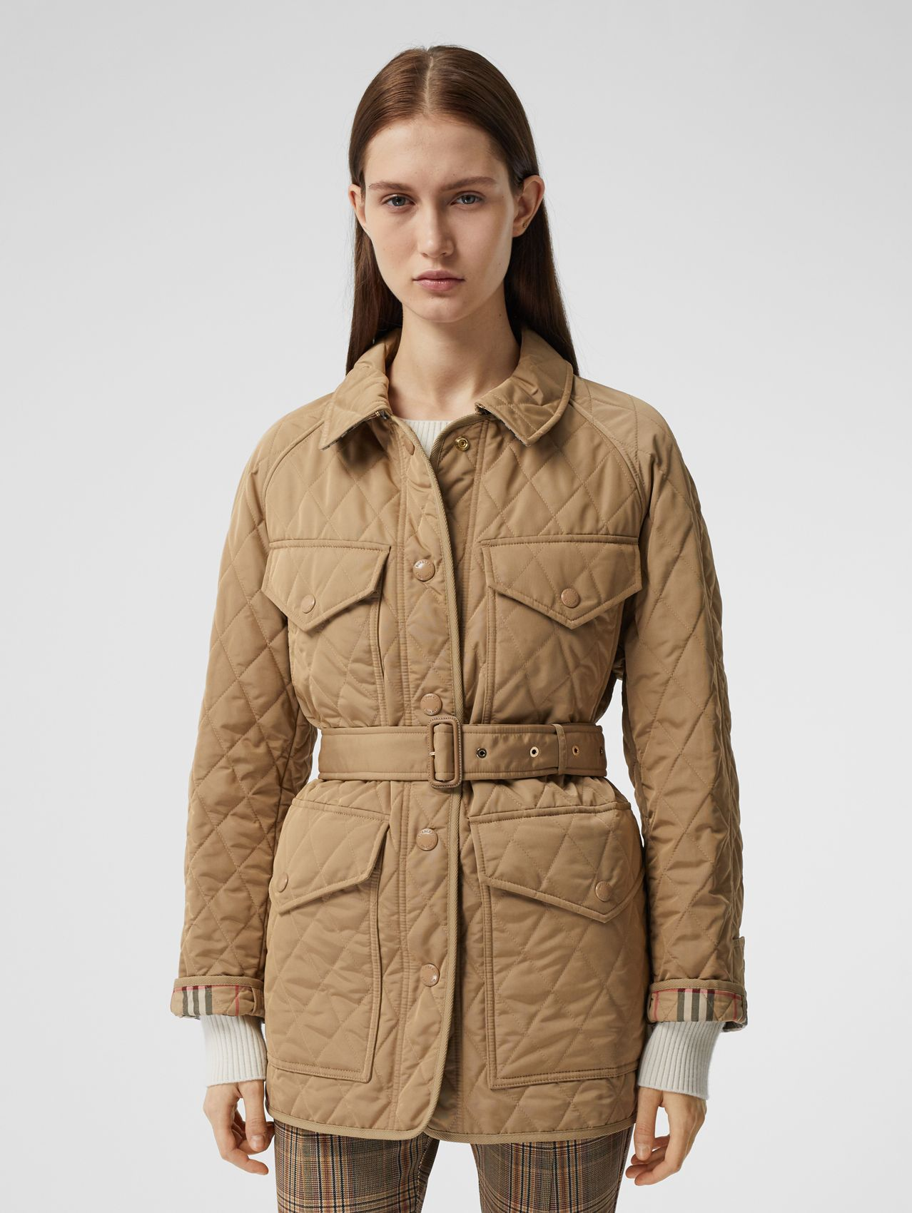 Diamond Quilted Nylon Canvas Field Jacket in Archive Beige