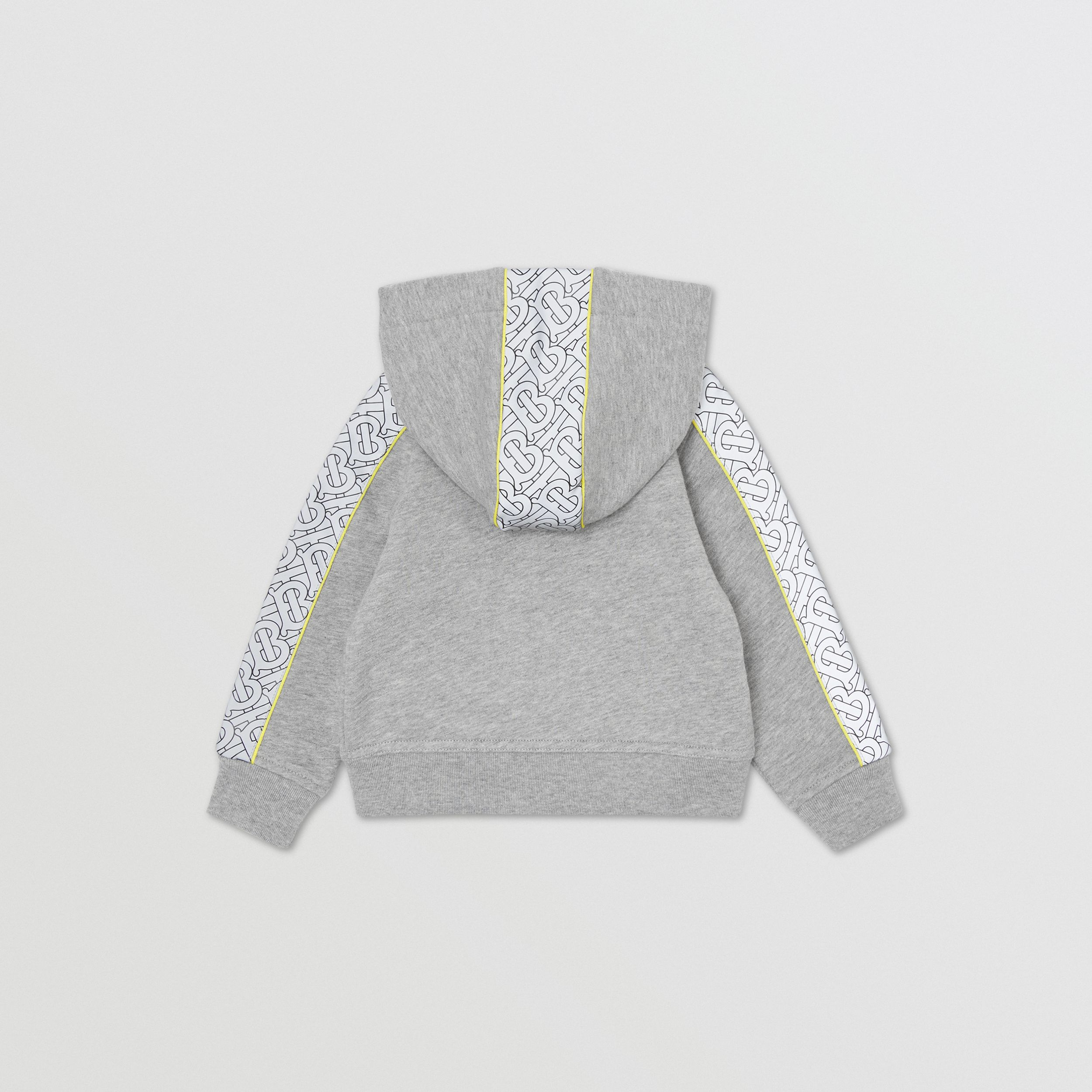 Monogram Print Panel Cotton Hooded Top in Grey Melange - Children | Burberry - 4