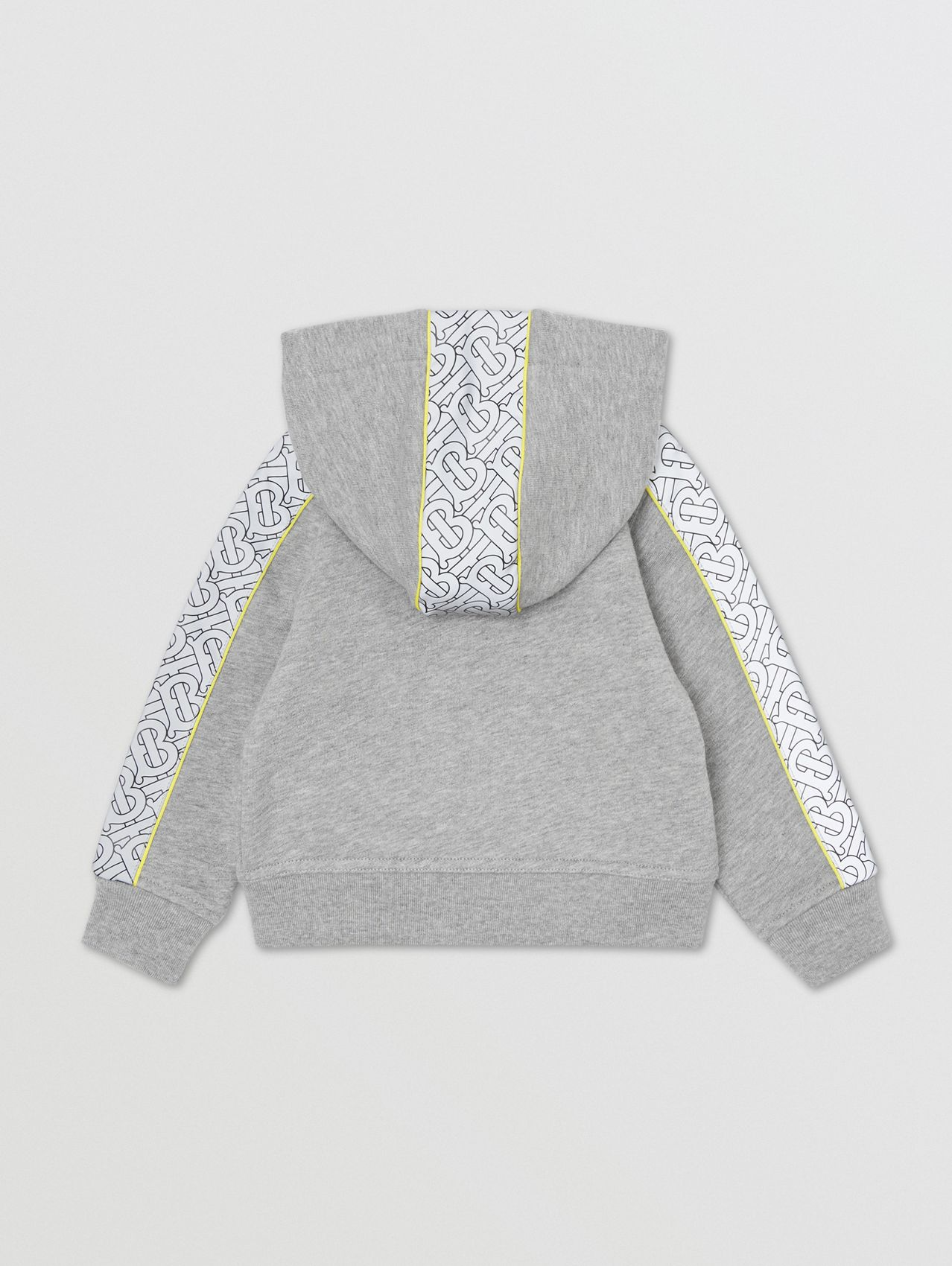 Monogram Print Panel Cotton Hooded Top in Grey Melange