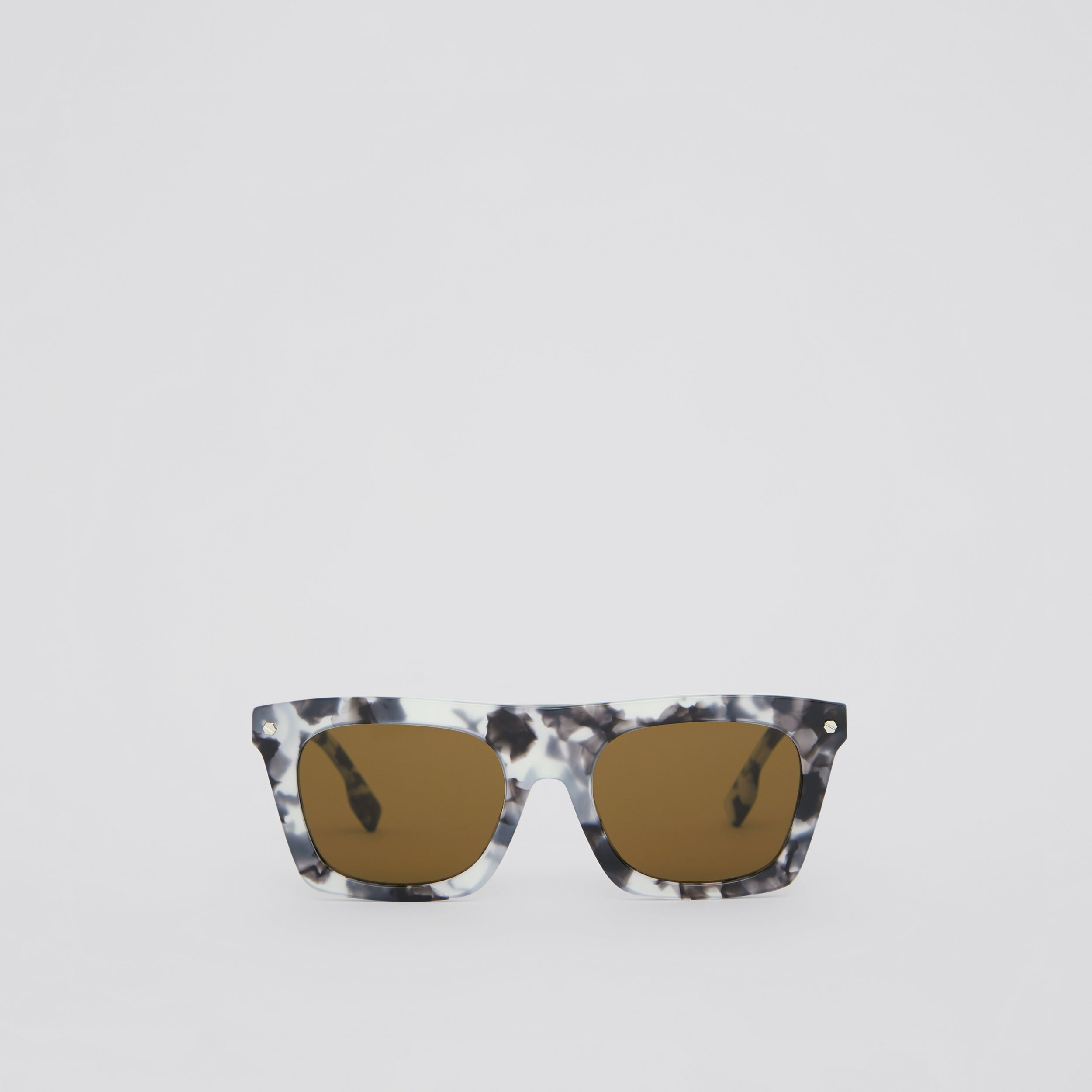 Icon Stripe Detail Rectangular Frame Sunglasses in Marble Grey - Men | Burberry United Kingdom - 1