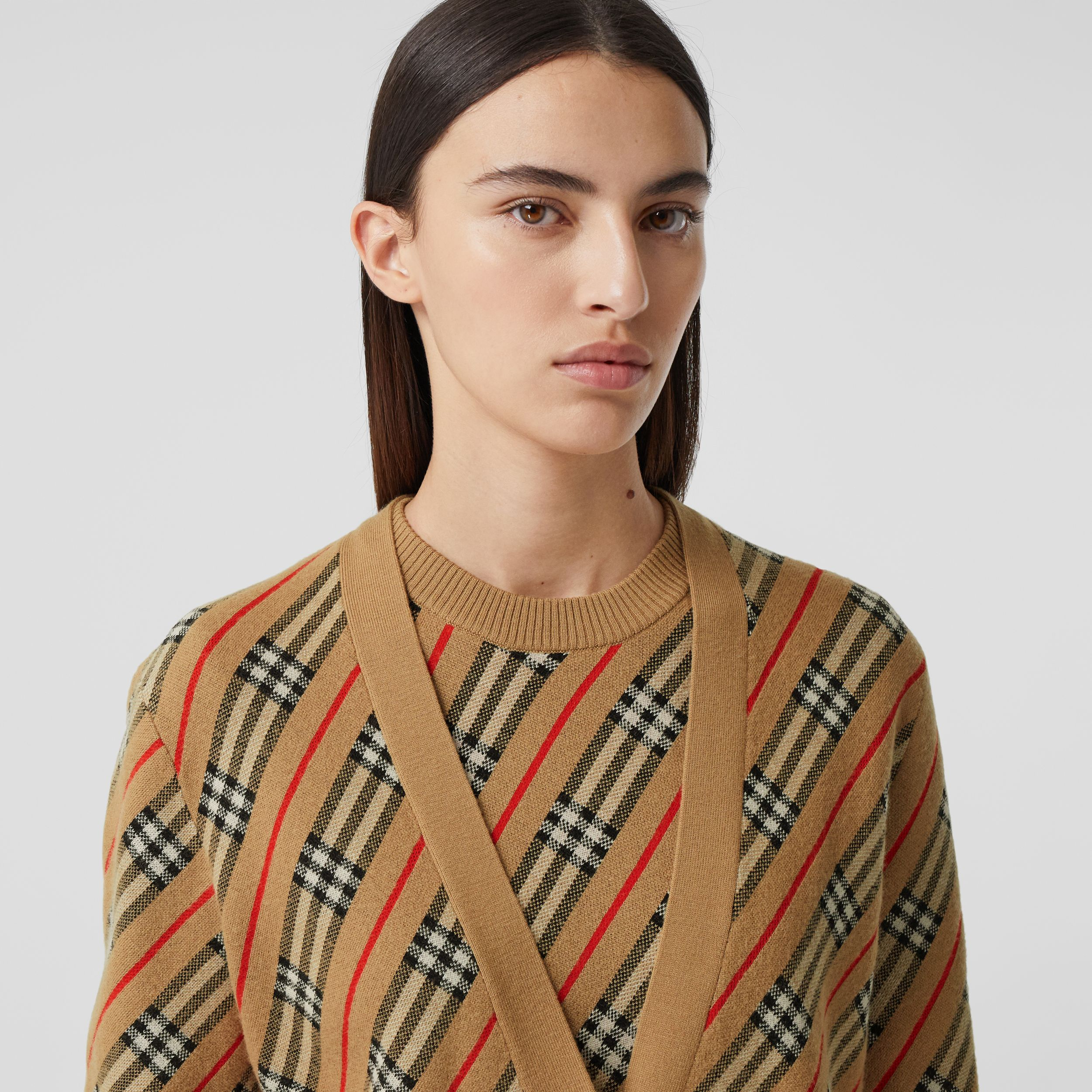 Stripe Merino Wool Blend Cardigan in Camel - Women | Burberry Hong Kong S.A.R. - 2