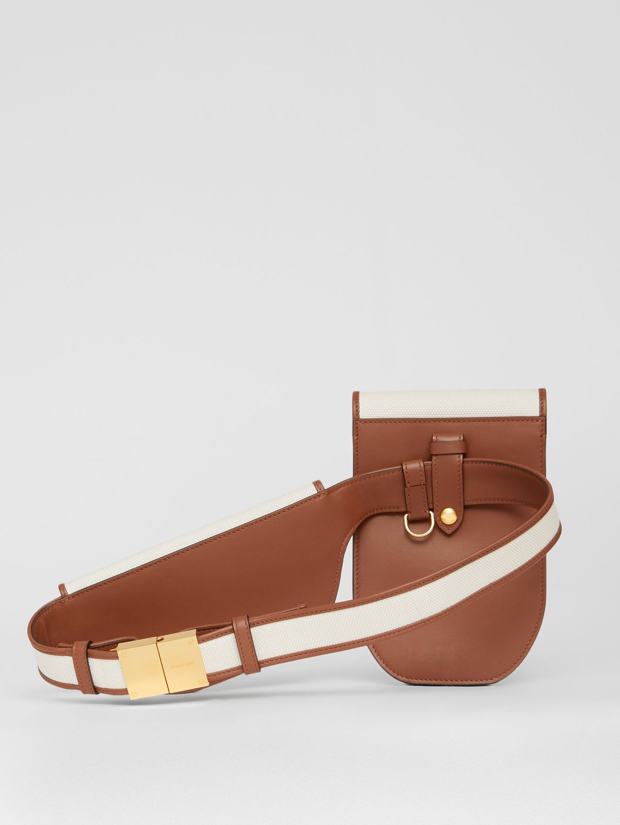 Horseferry Print Canvas and Leather Olympia Belt Bag in Natural/tan