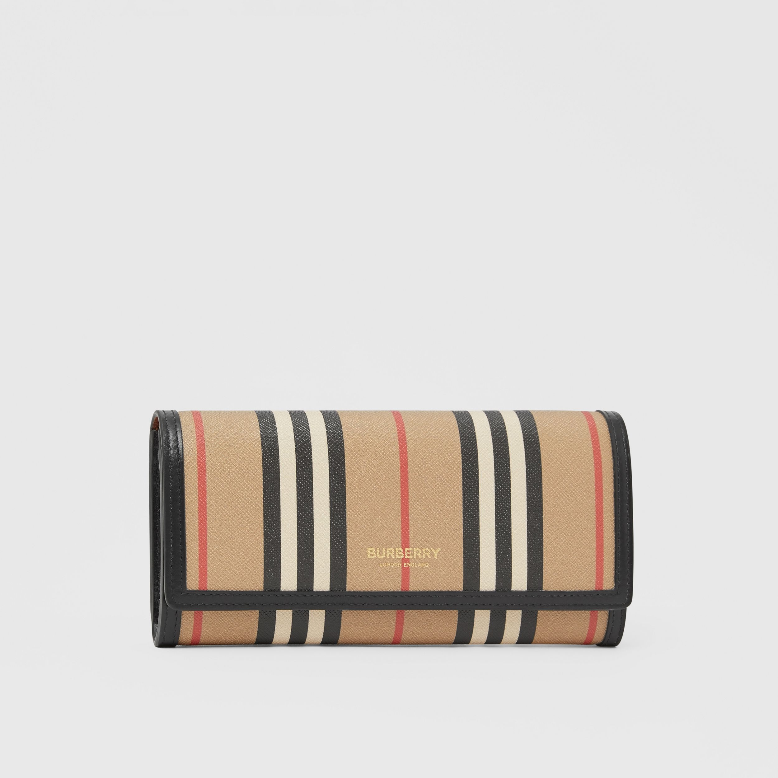 Icon Stripe E-canvas Continental Wallet in Archive Beige - Women | Burberry - 4