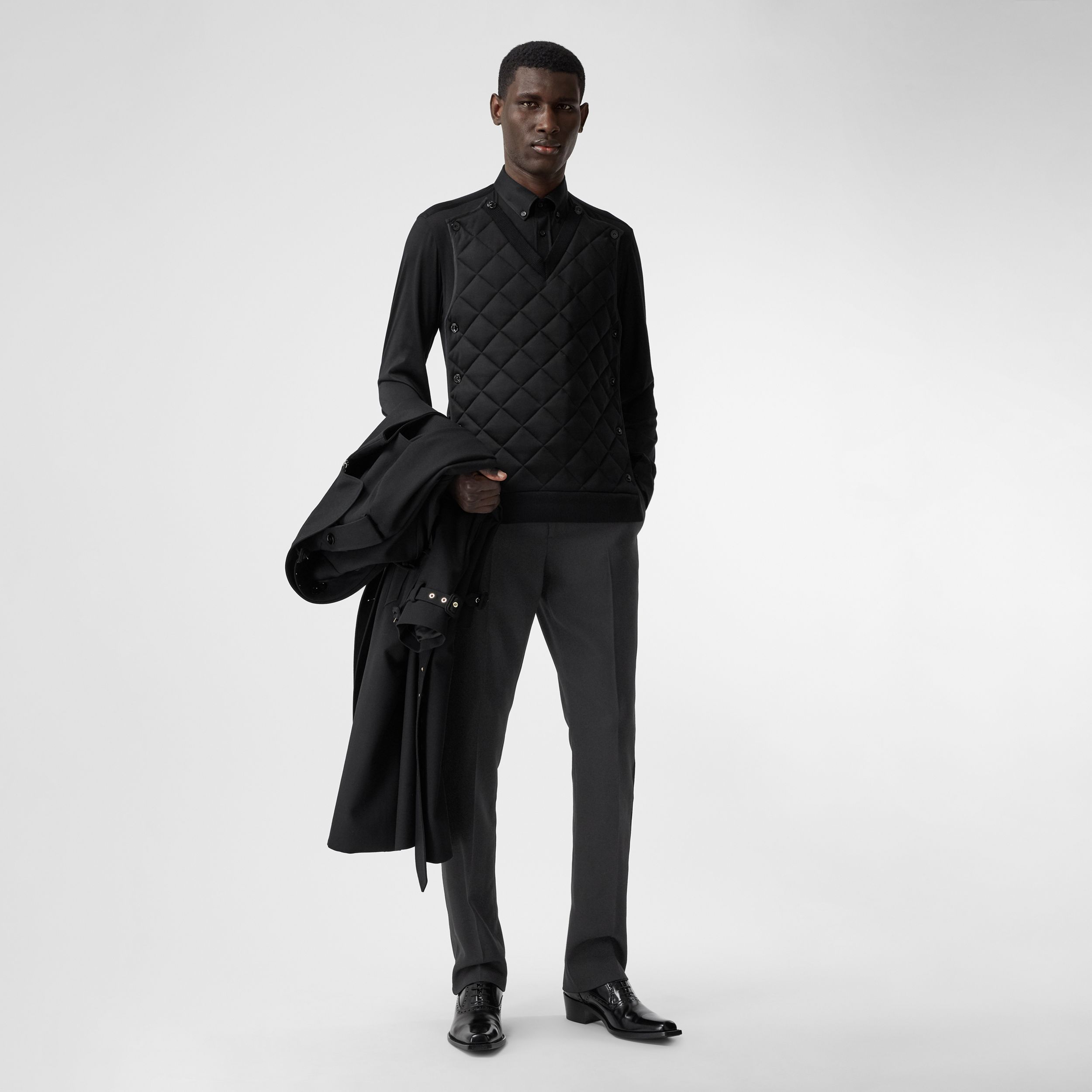 Slim Fit Silk Satin Detail Wool Tailored Trousers in Black | Burberry Canada - 1