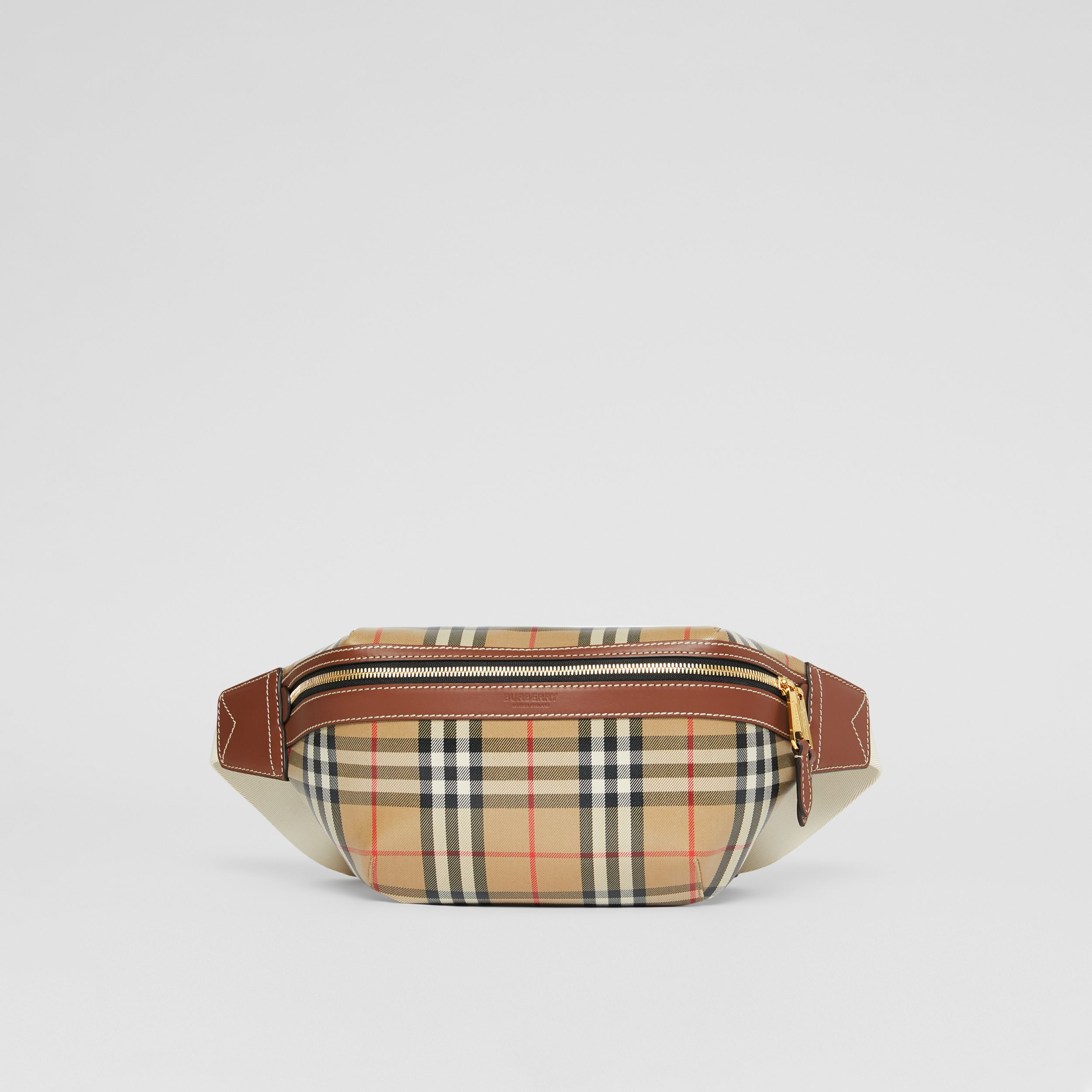 Vintage Check Coated Canvas Sonny Bum Bag in Archive Beige - Men | Burberry - 1