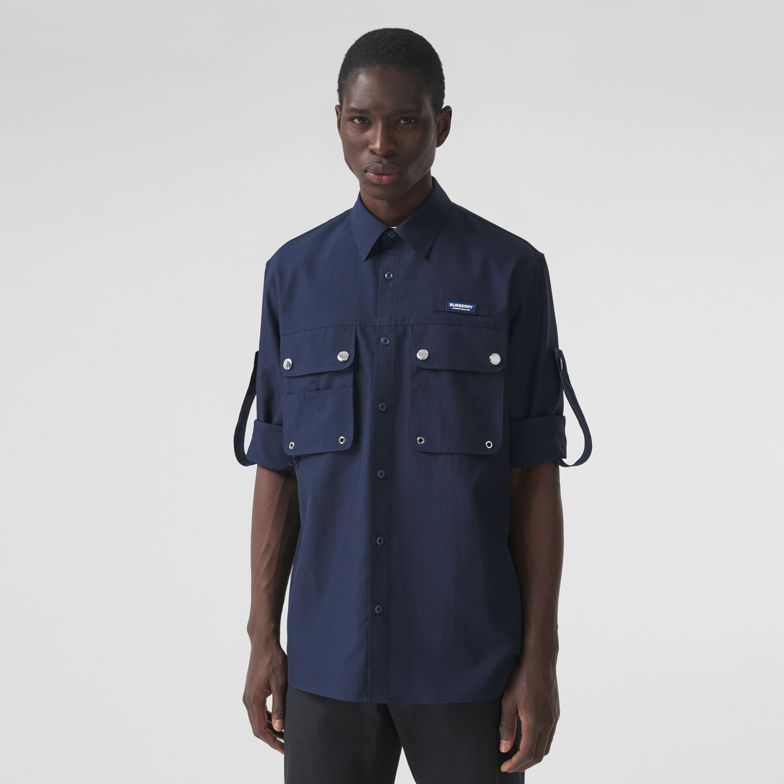 Logo Appliqué Cotton Silk Shirt in Ink Blue - Men | Burberry - 1