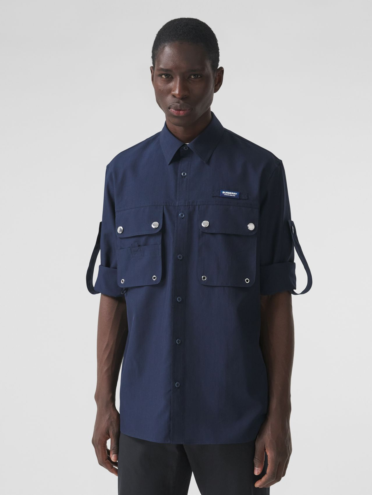 Logo Appliqué Cotton Silk Shirt in Ink Blue