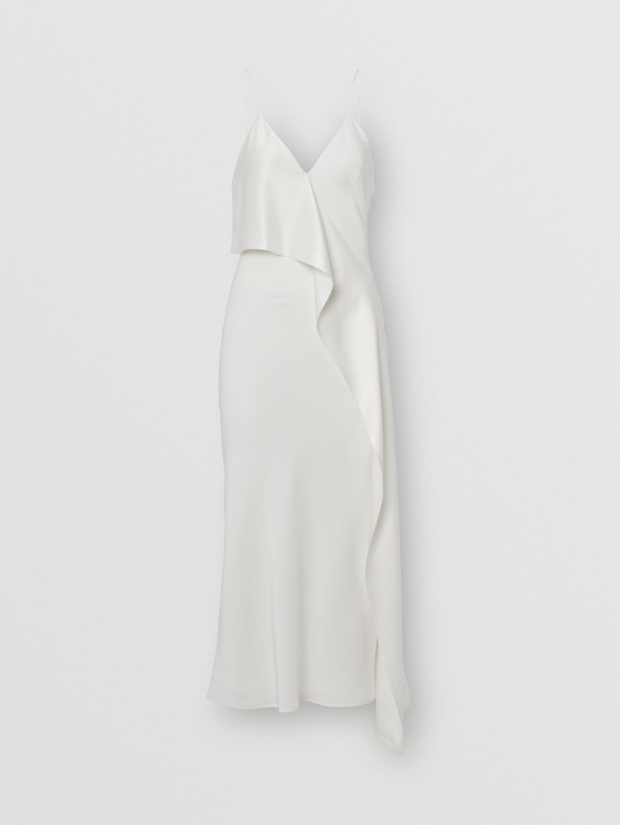 Ruffle Detail Silk Slip Dress in Natural White