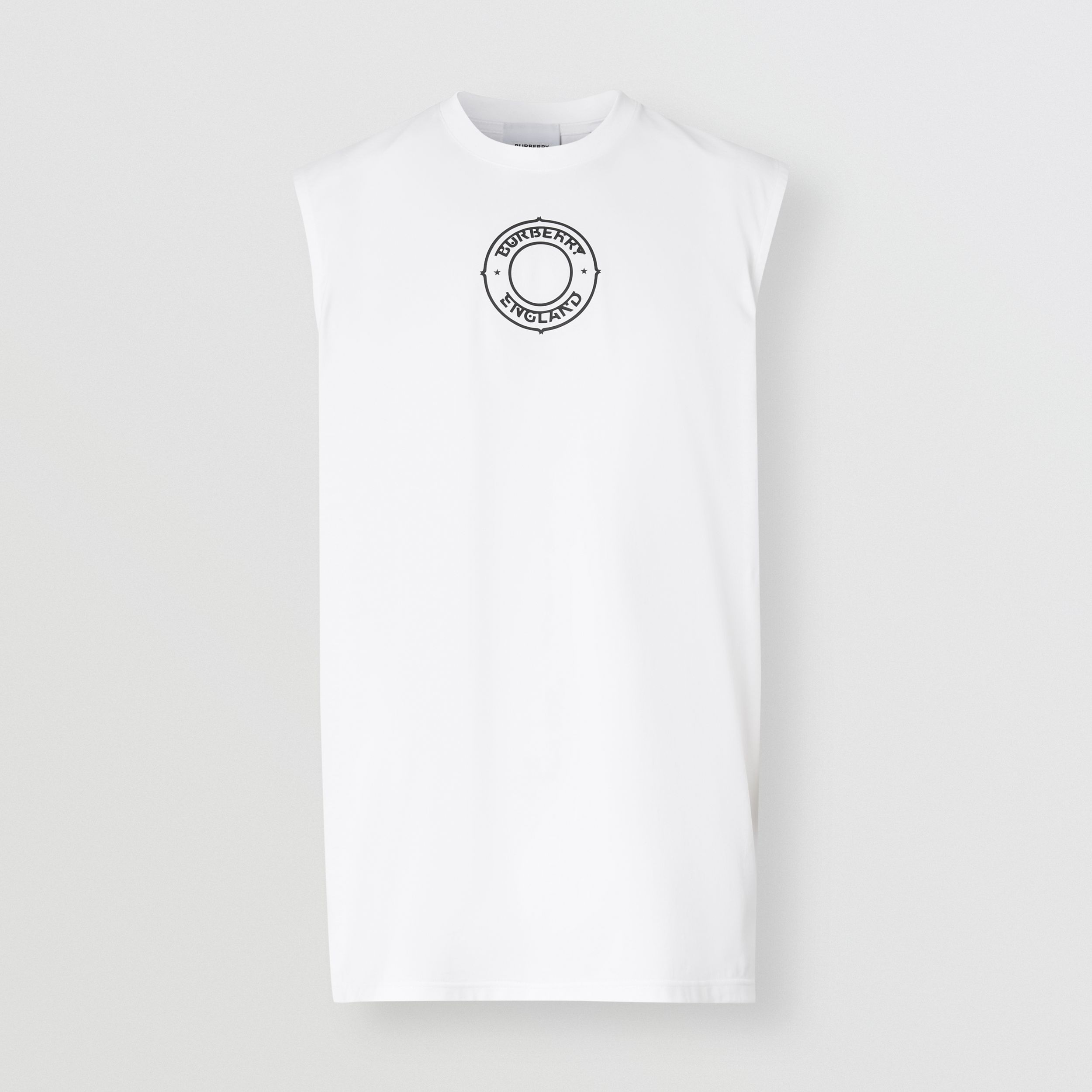 Logo Graphic Print Cotton Vest in White | Burberry United States - 4