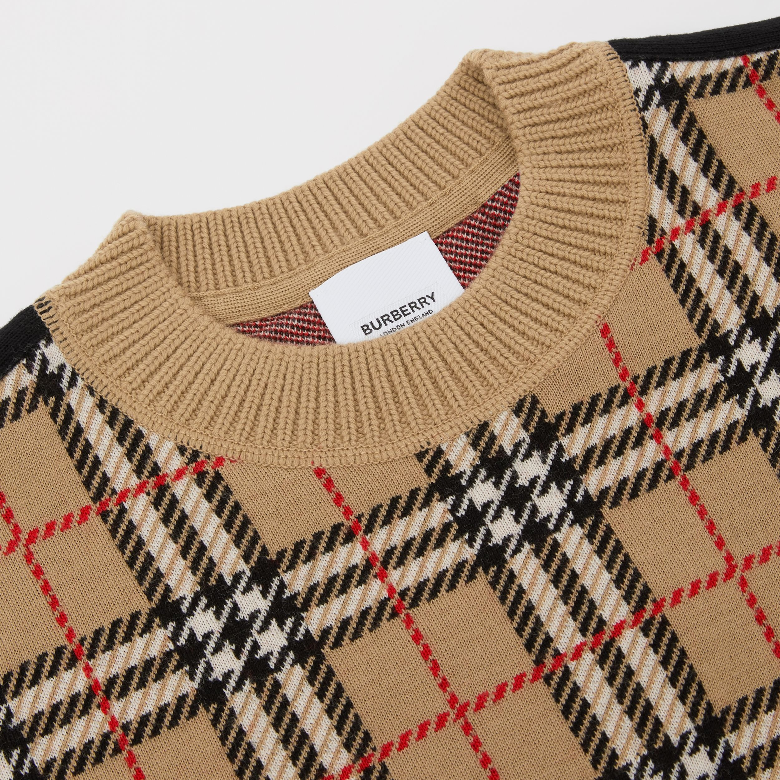 Check Merino Wool Jacquard Sweater in Archive Beige | Burberry - 2