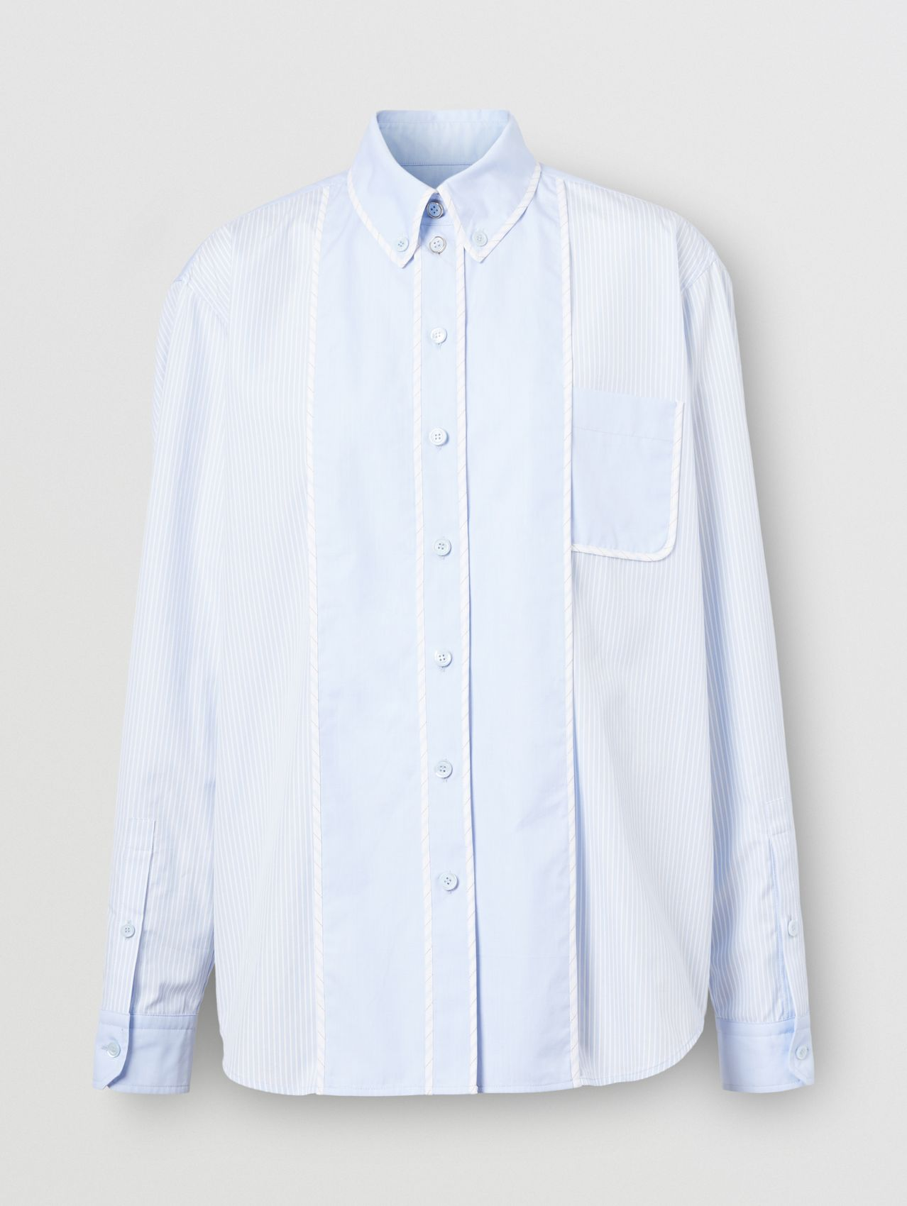 Contrast Panel Striped Cotton Oversized Shirt in Pale Blue
