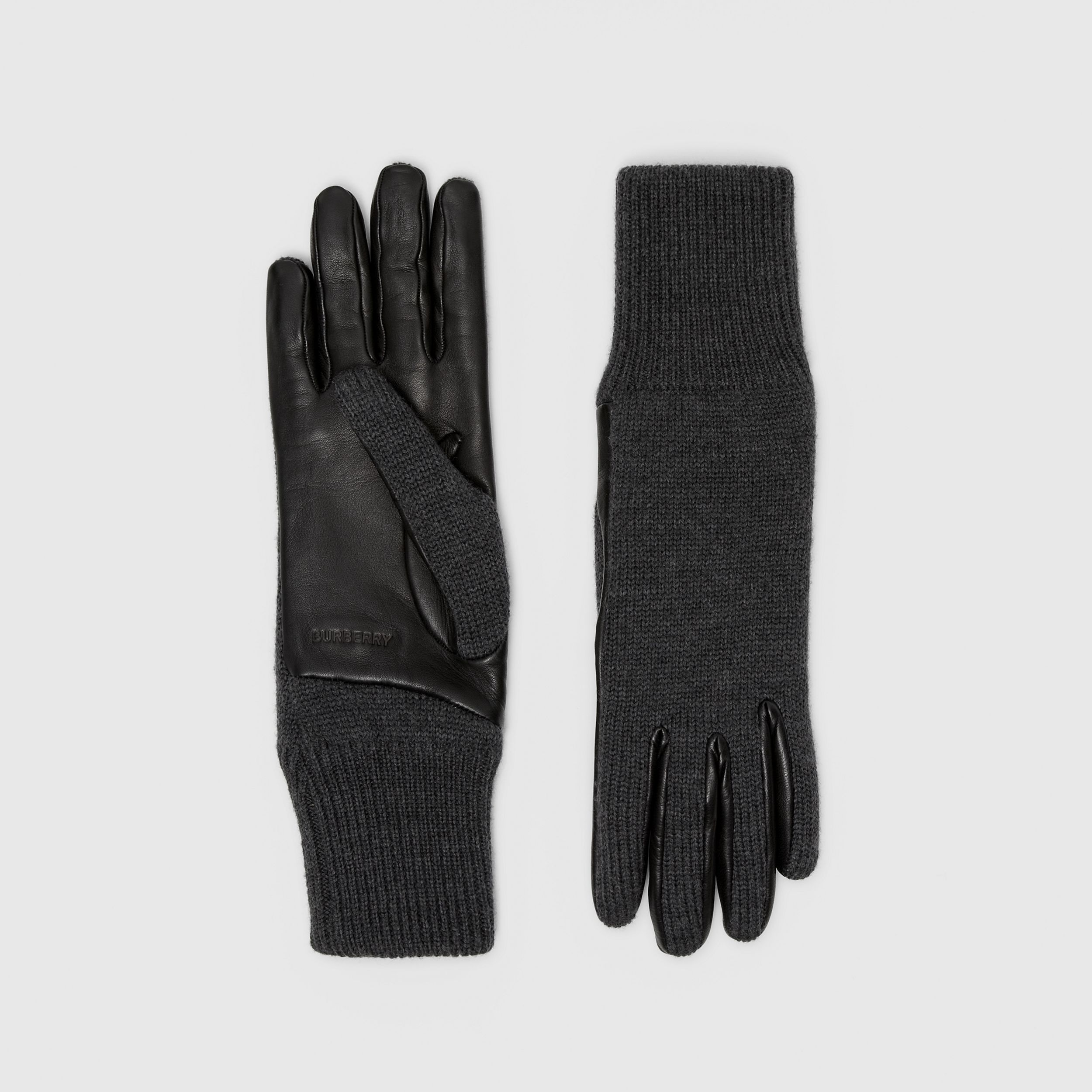 Cashmere-lined Merino Wool and Lambskin Gloves in Black | Burberry - 1