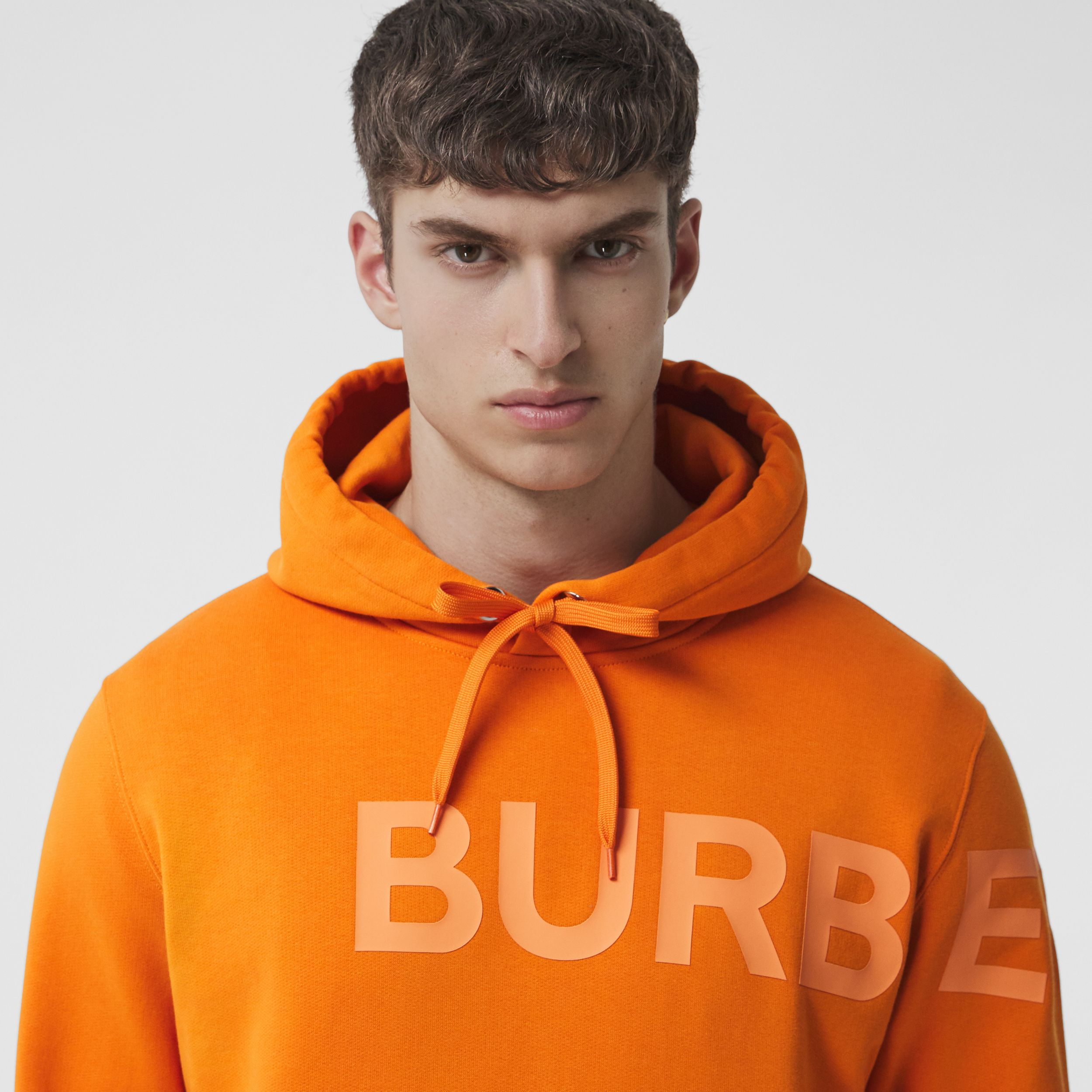 Horseferry Print Cotton Hoodie in Deep Orange - Men | Burberry - 2
