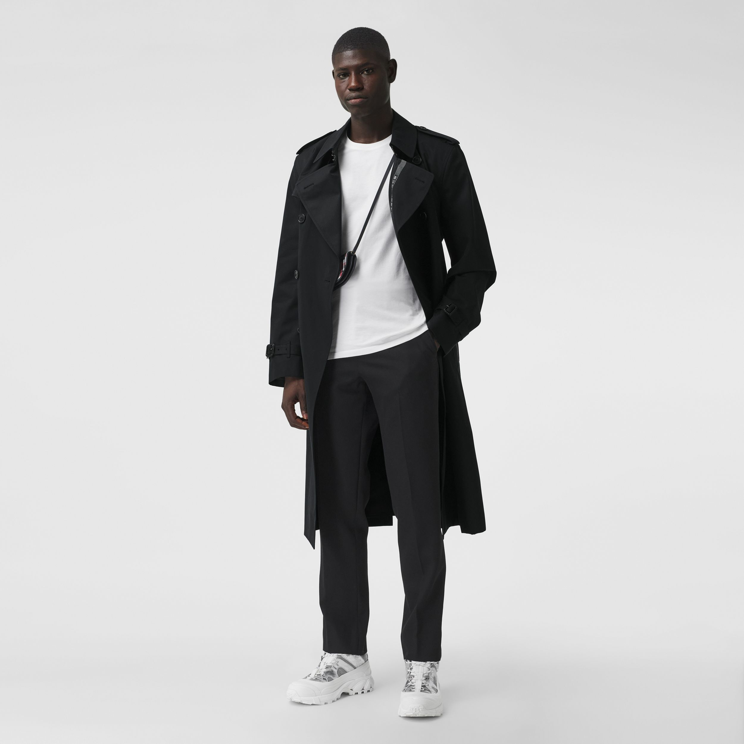 Logo Detail Cotton Gabardine Trench Coat in Black - Men | Burberry Canada - 1