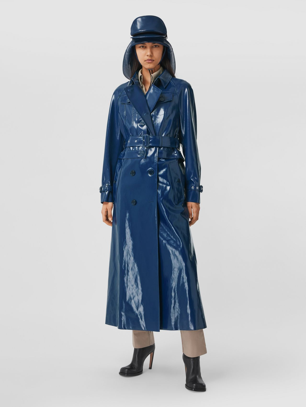 Jacket Detail Rubberised Cotton Trench Coat in Ink Blue