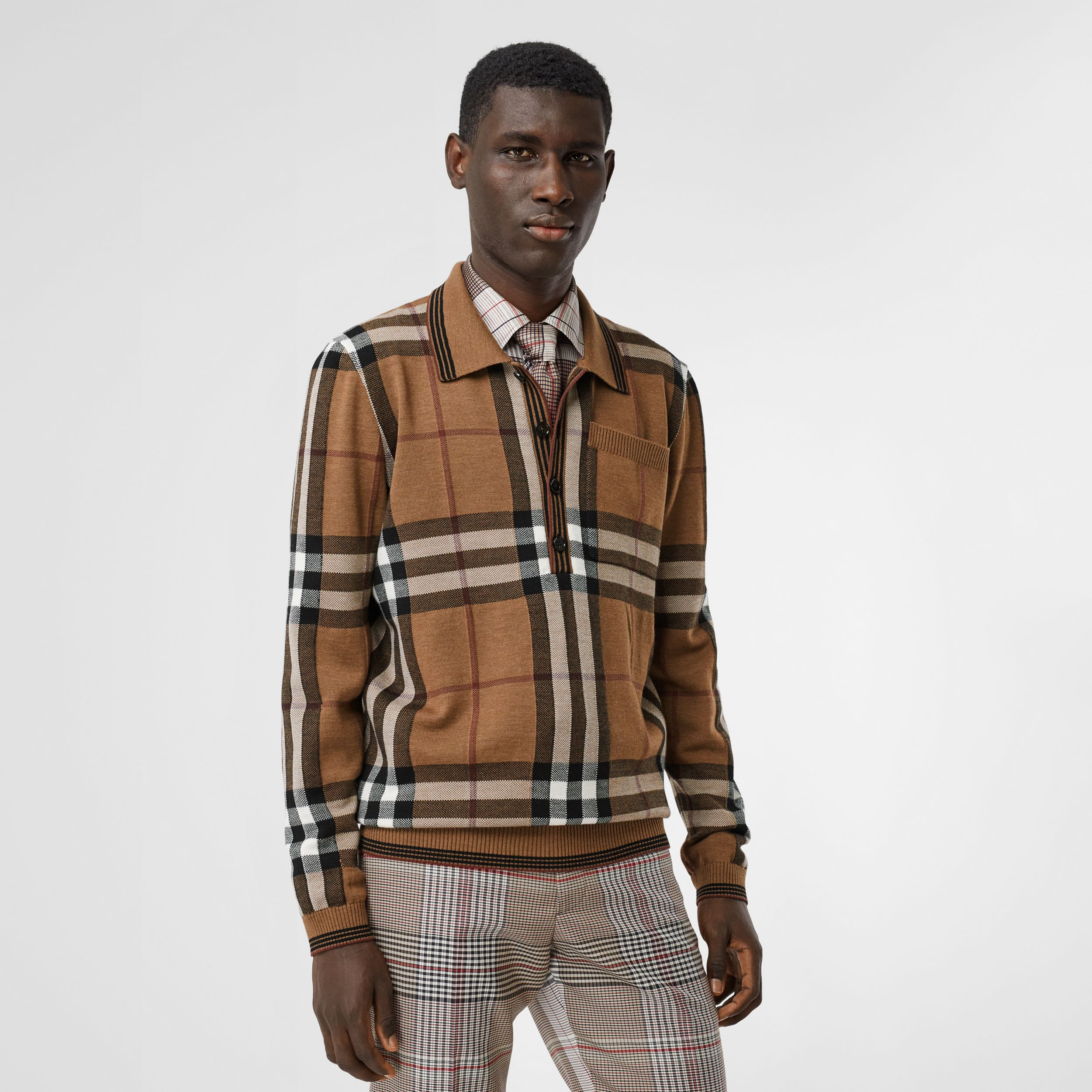 Check Intarsia Wool Polo Shirt in Birch Brown | Burberry Australia - 1