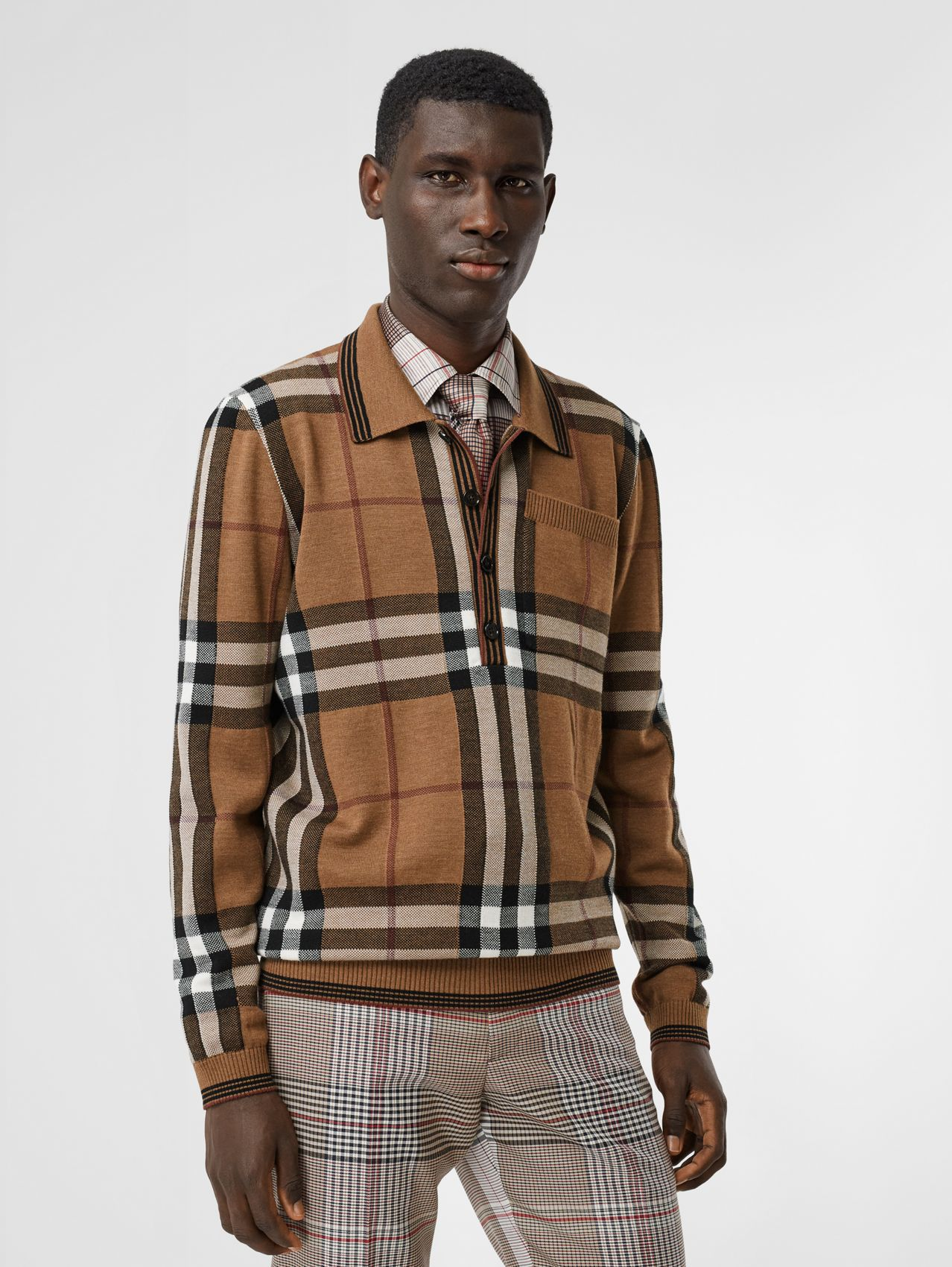 Check Intarsia Wool Polo Shirt in Birch Brown