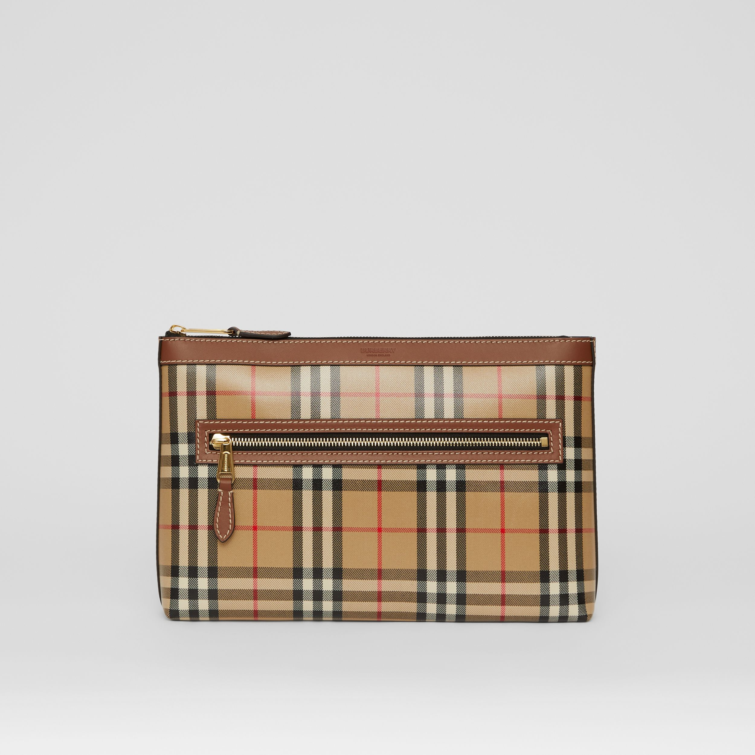 Vintage Check Coated Canvas Zip Pouch in Archive Beige - Men | Burberry Canada - 1