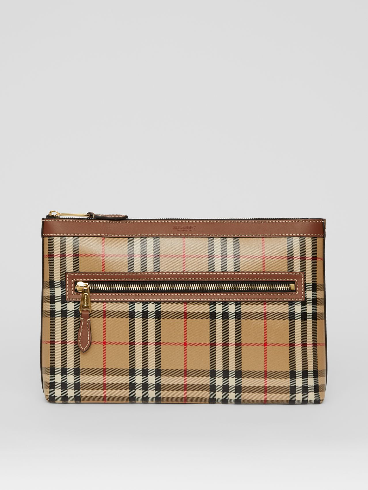 Vintage Check Coated Canvas Zip Pouch in Archive Beige