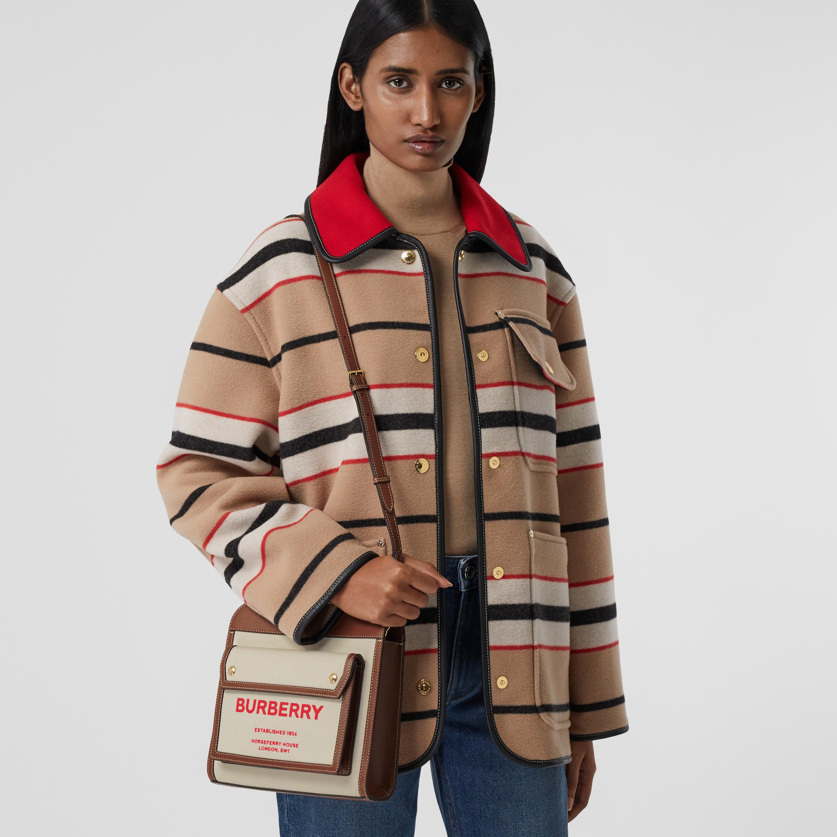 Borsa Pocket mini bicolore in tela e pelle (Naturale/marroncino) - Donna   Burberry - 3