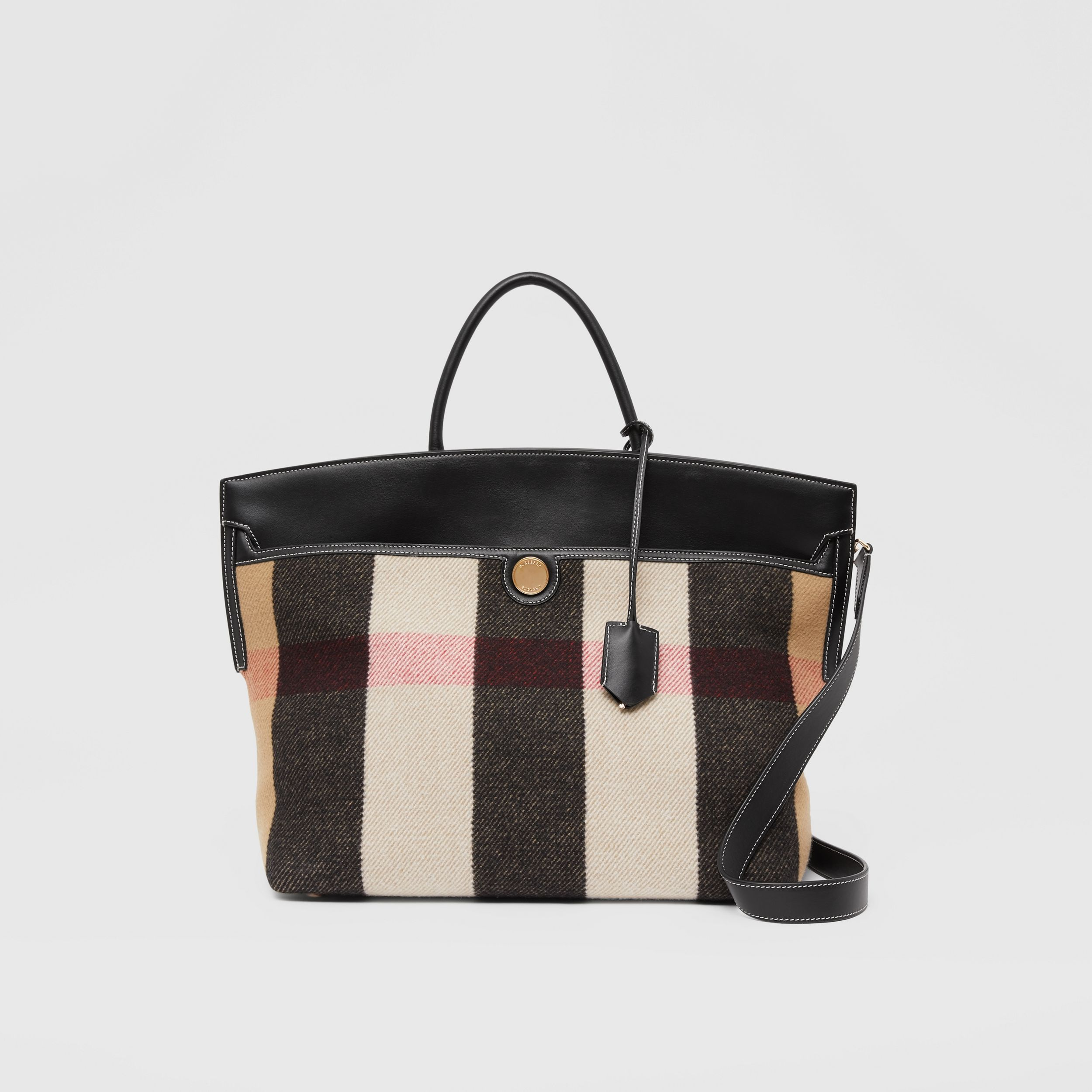 Check Merino Wool Cashmere Society Top Handle Bag in Archive Beige - Women | Burberry United Kingdom - 1