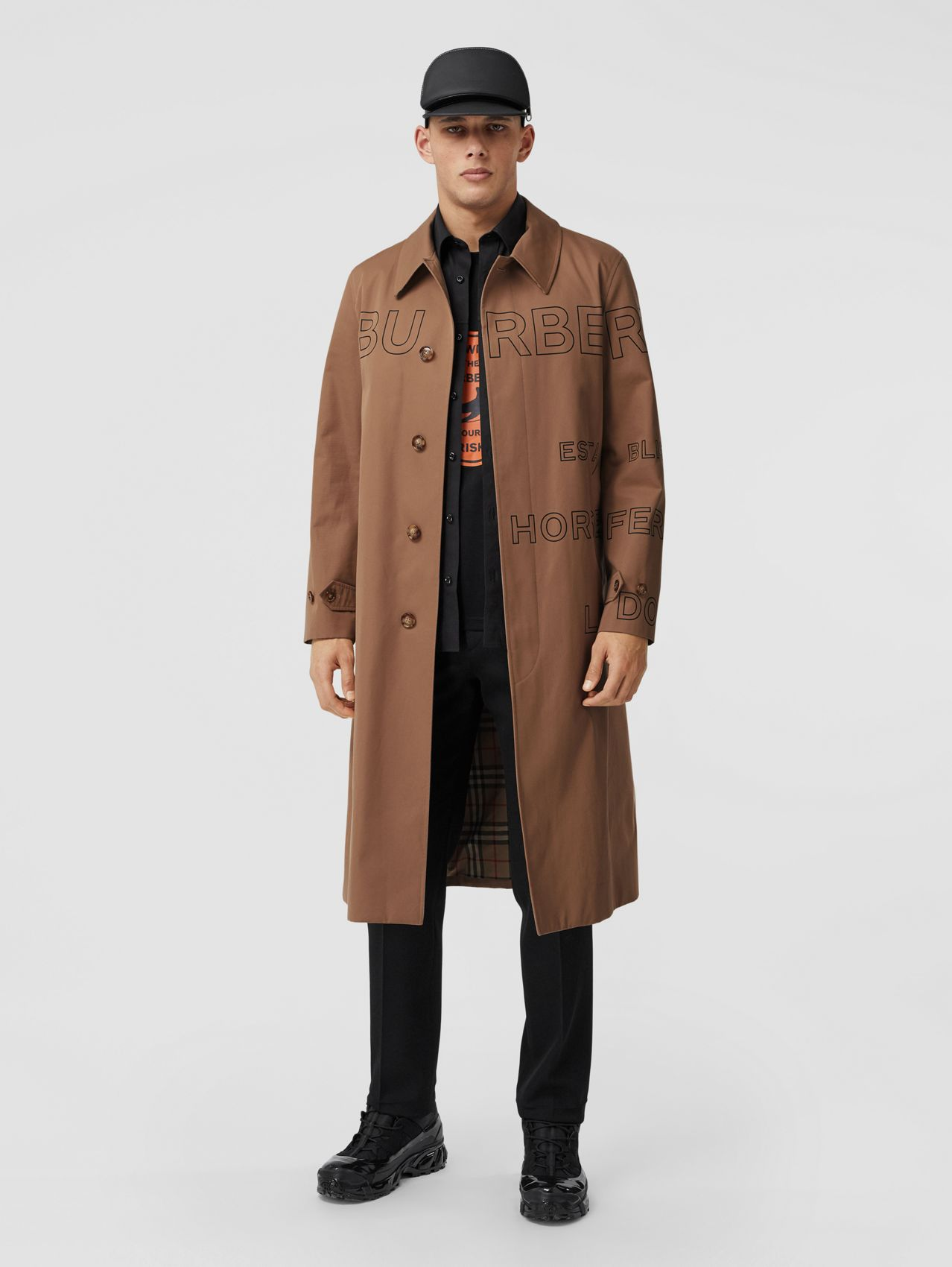 Horseferry Print Cotton Gabardine Car Coat in Dusty Caramel