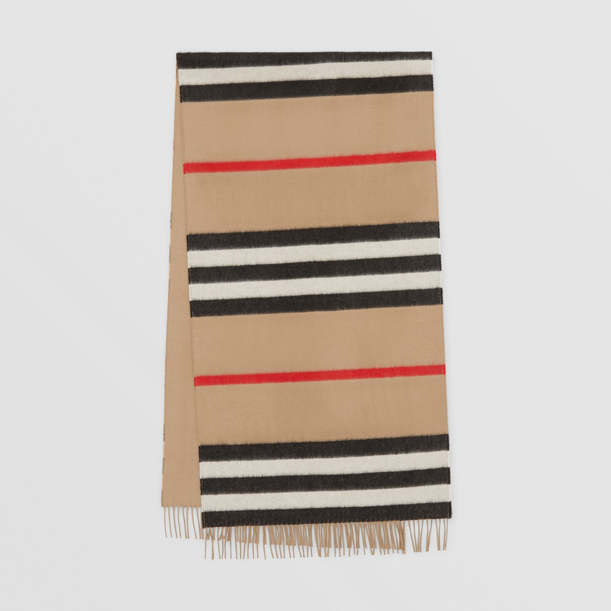 Icon Stripe Cashmere Jacquard Scarf in Archive Beige | Burberry - 1
