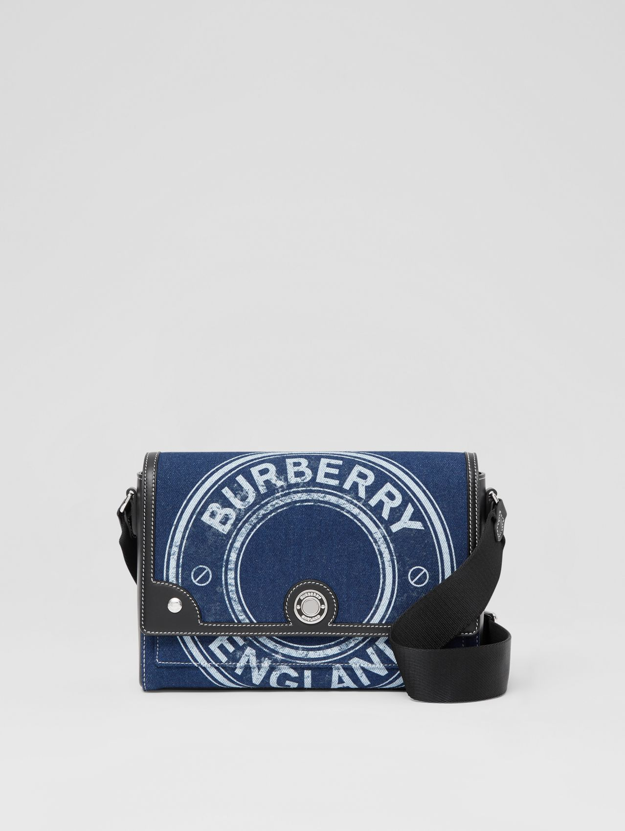 Logo Graphic Denim Note Crossbody Bag in Dark Canvas Blue
