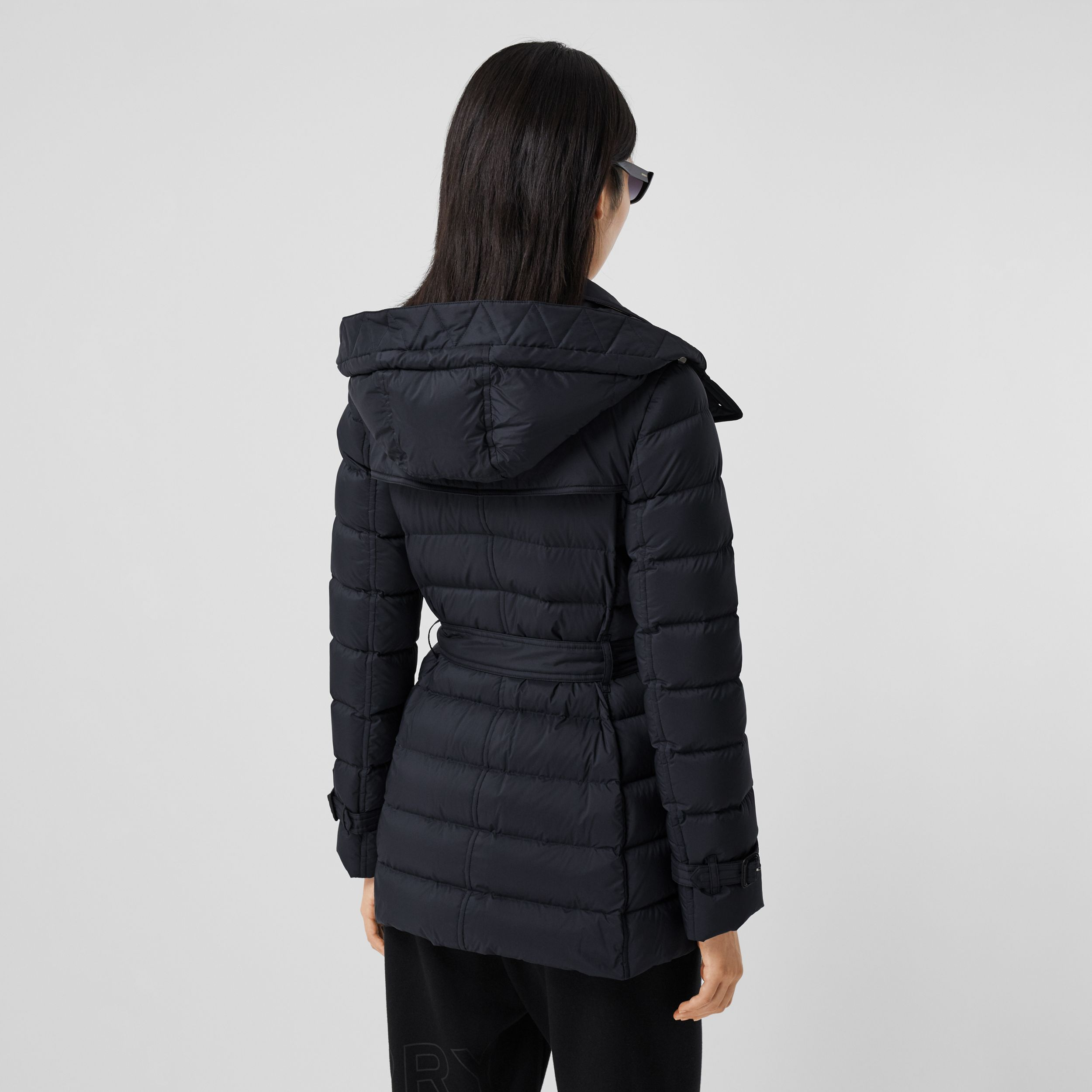 Logo Appliqué Detachable Hood Puffer Coat in Midnight Blue - Women | Burberry - 3